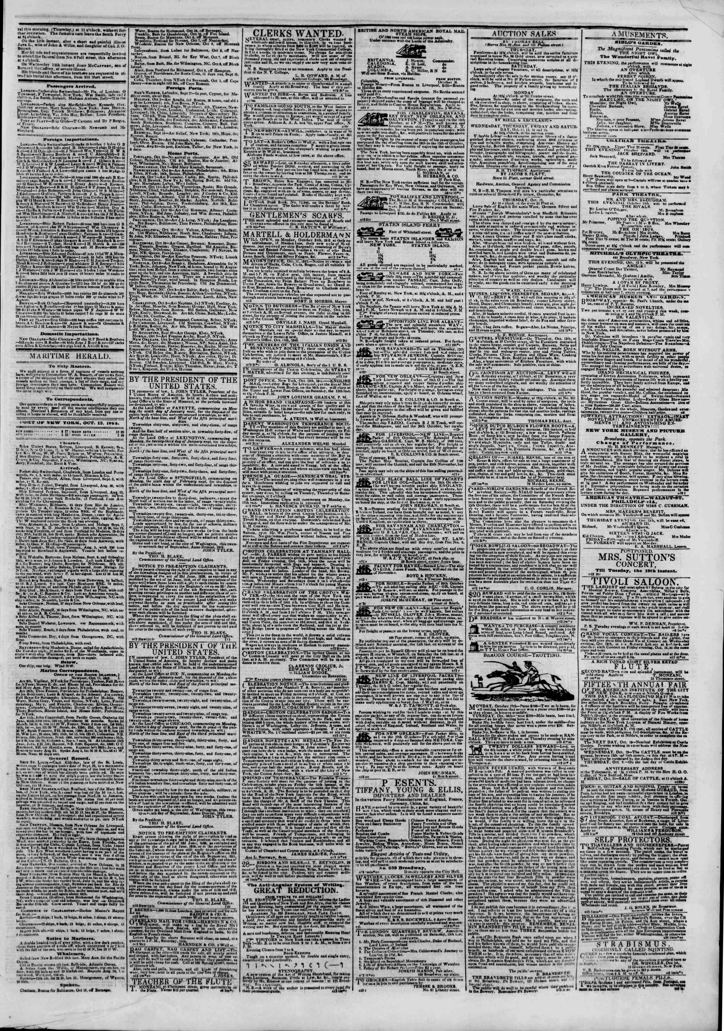 October 13, 1842 Tarihli The New York Herald Gazetesi Sayfa 3