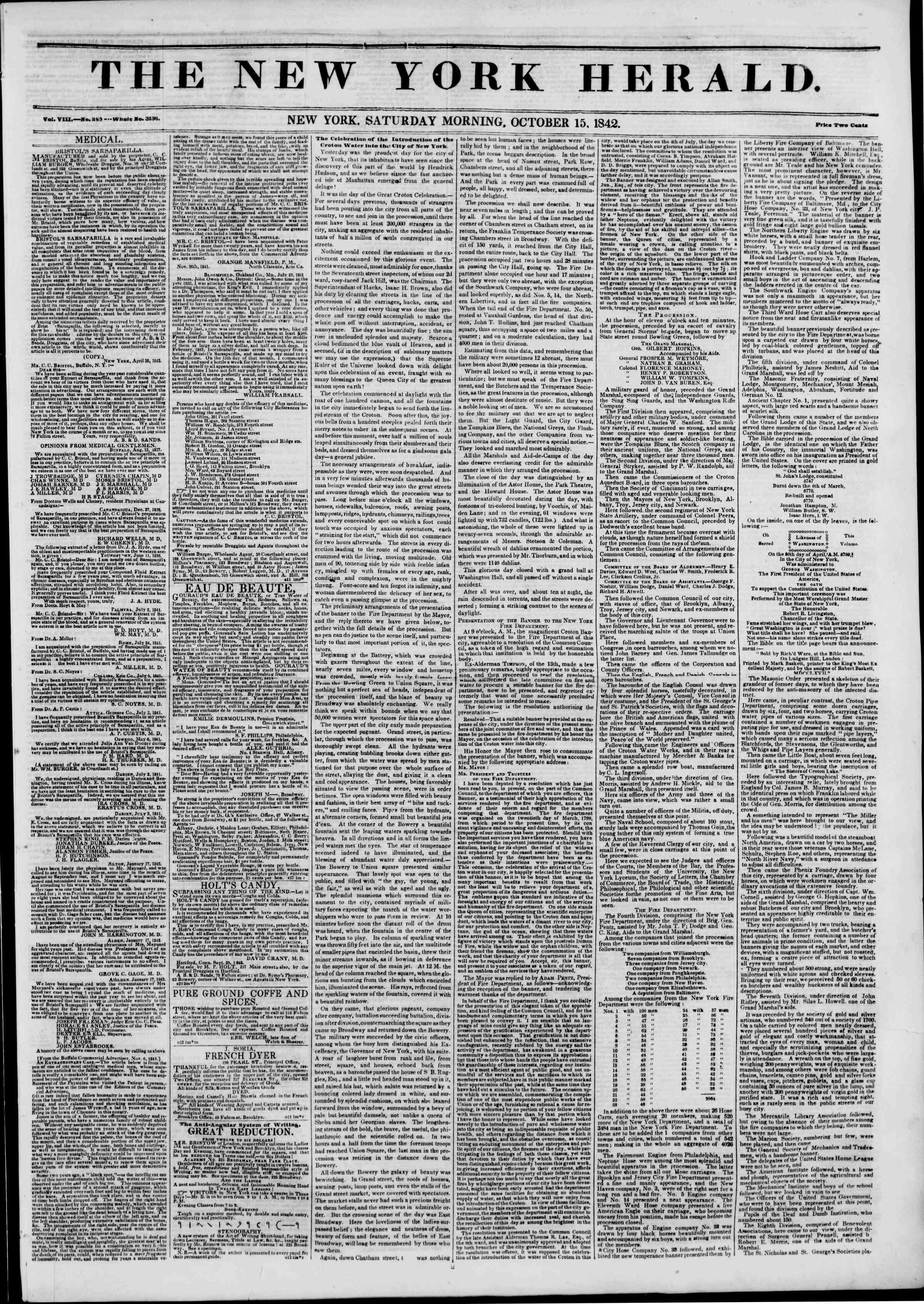 October 15, 1842 Tarihli The New York Herald Gazetesi Sayfa 1