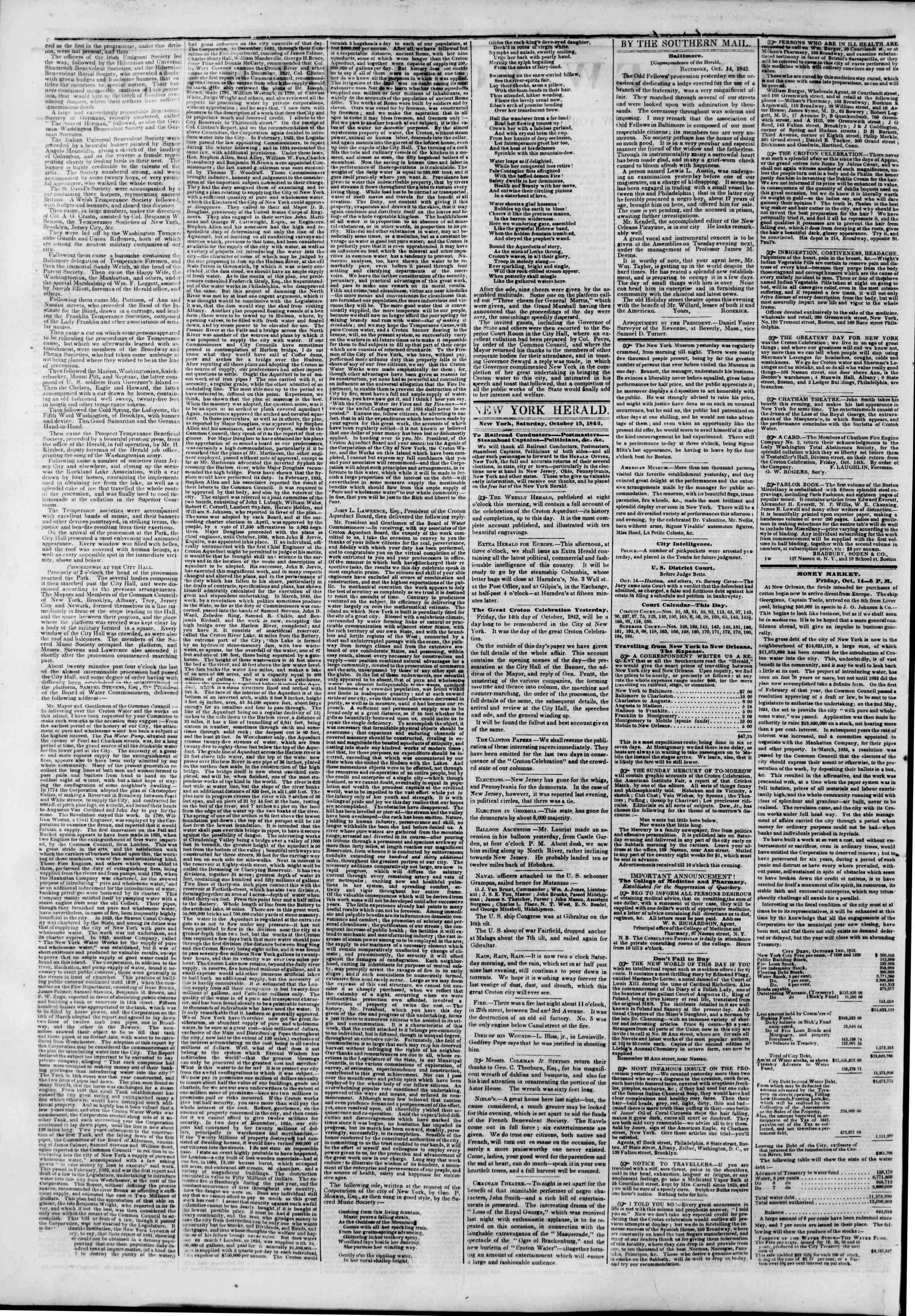 October 15, 1842 Tarihli The New York Herald Gazetesi Sayfa 2
