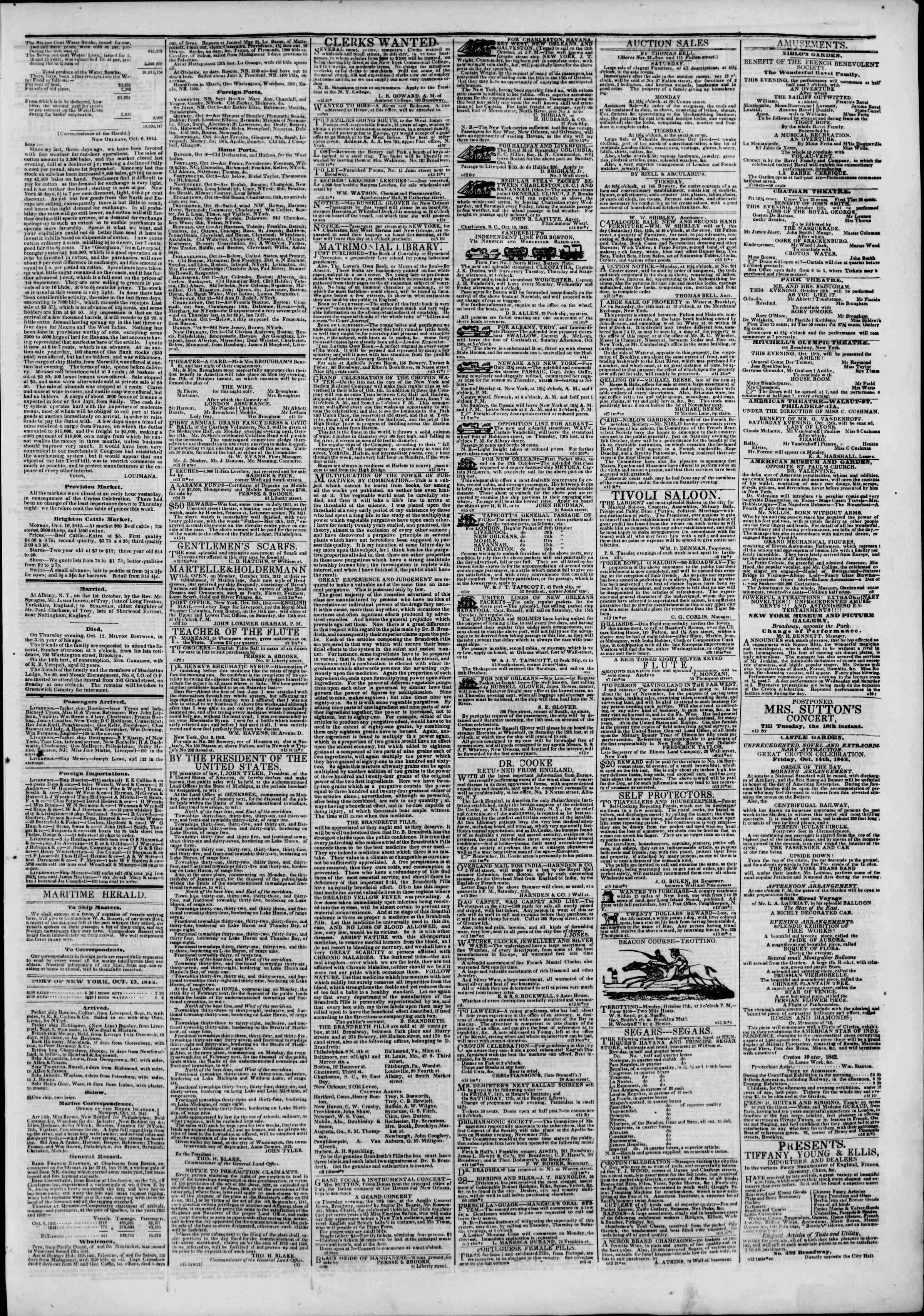October 15, 1842 Tarihli The New York Herald Gazetesi Sayfa 3