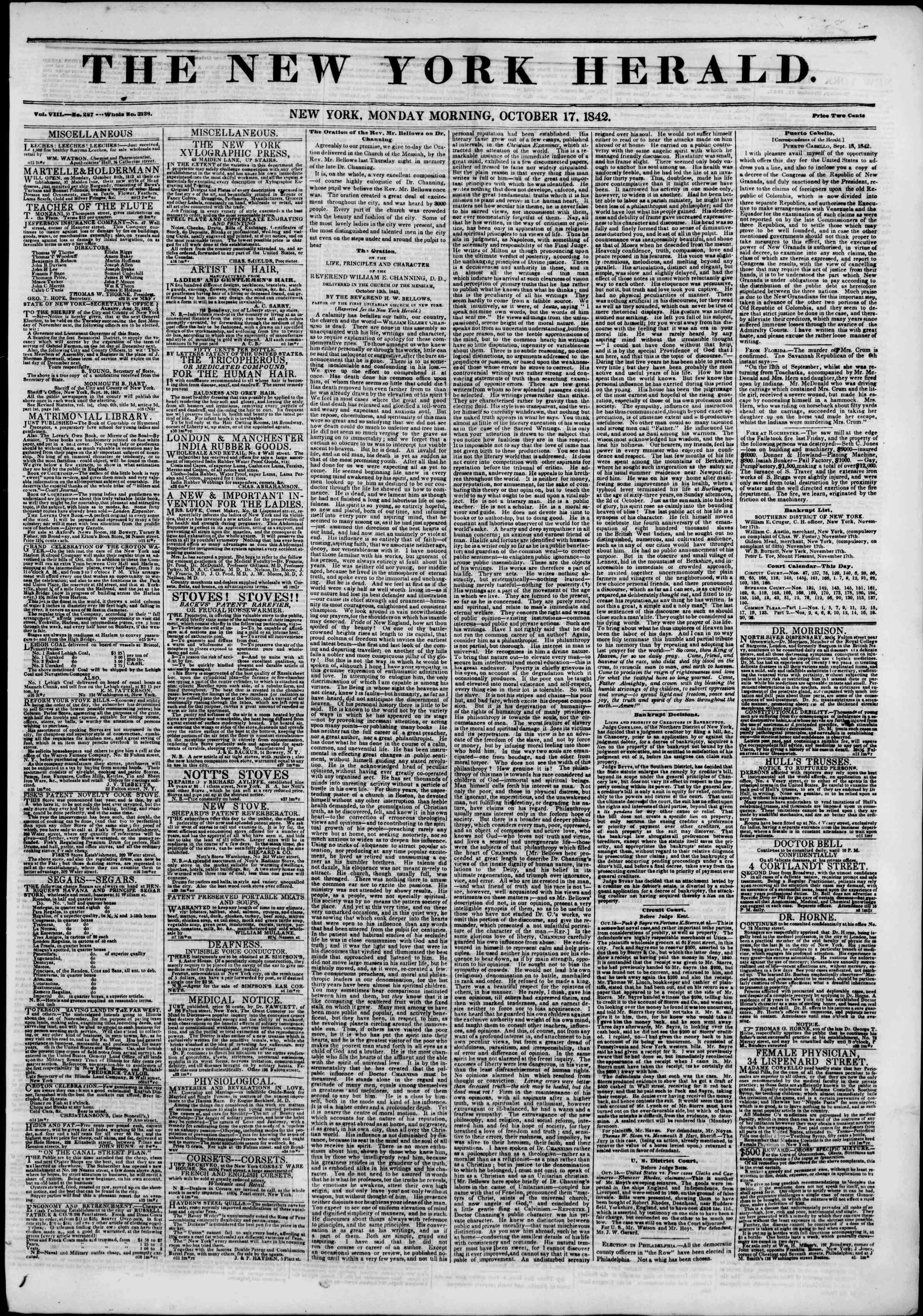 October 17, 1842 Tarihli The New York Herald Gazetesi Sayfa 1