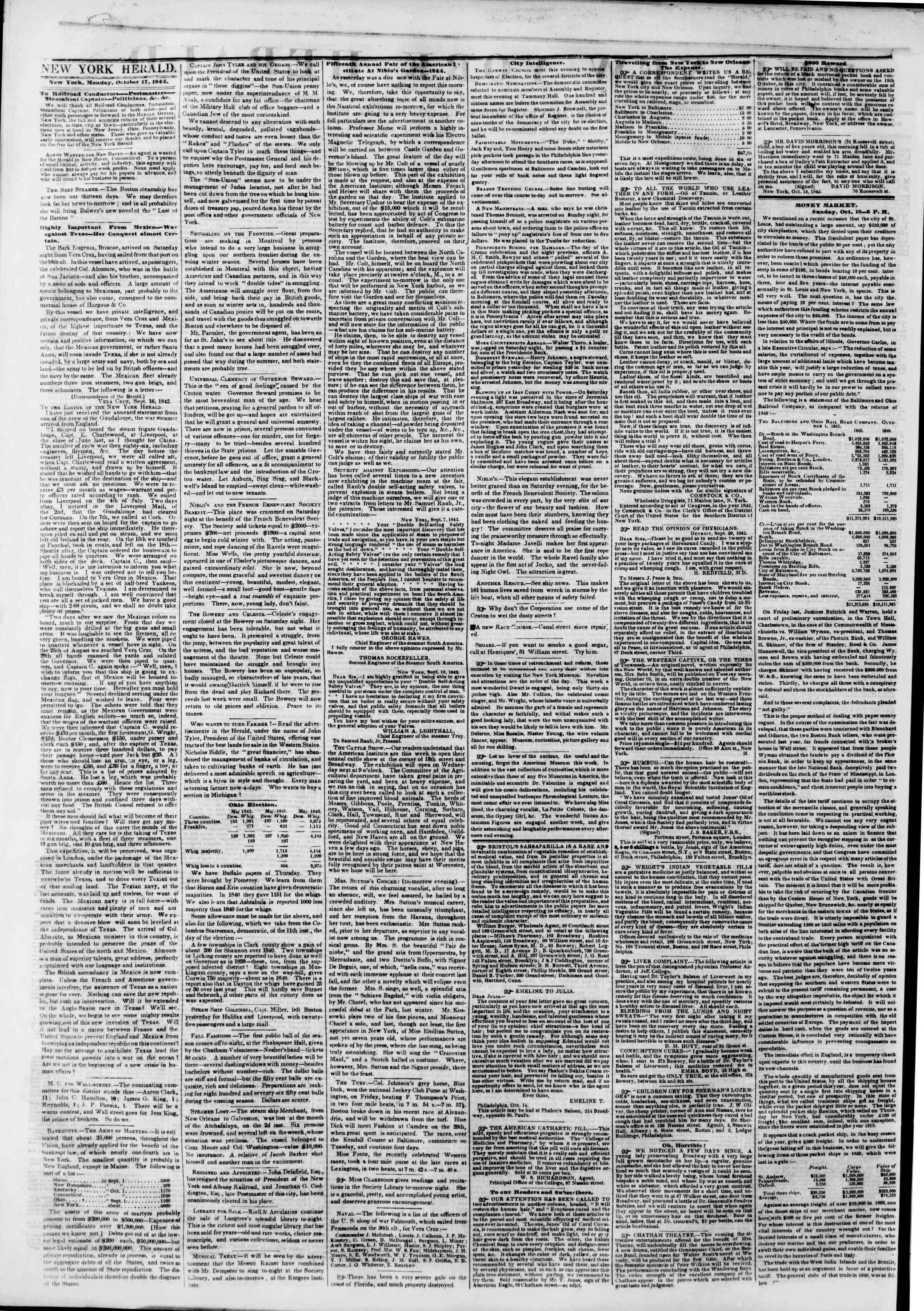 Newspaper of The New York Herald dated October 17, 1842 Page 2