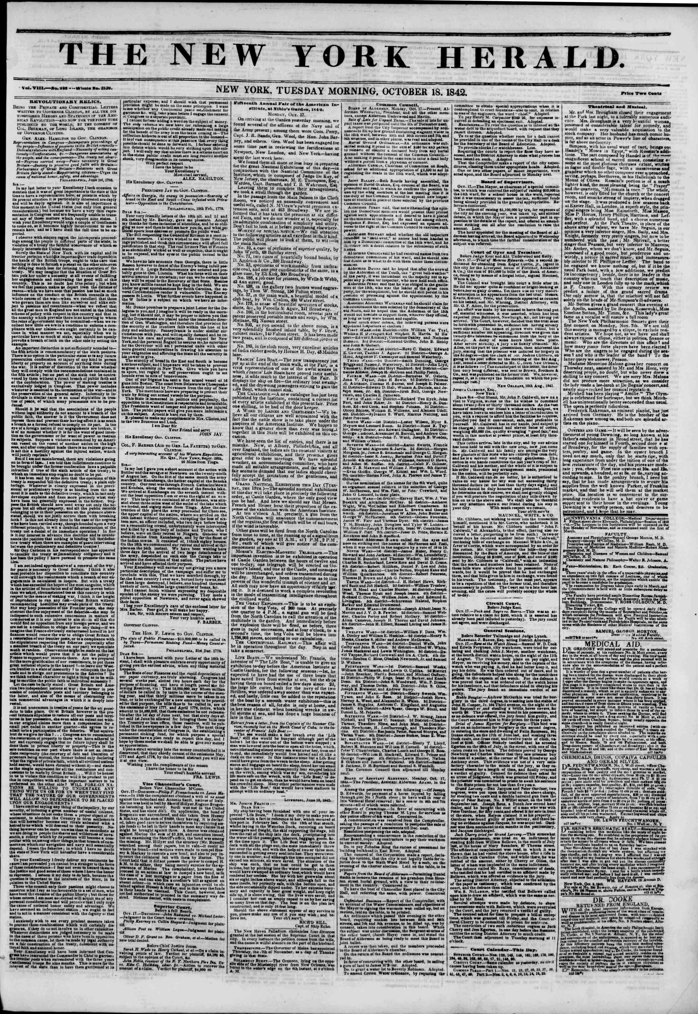 October 18, 1842 Tarihli The New York Herald Gazetesi Sayfa 1