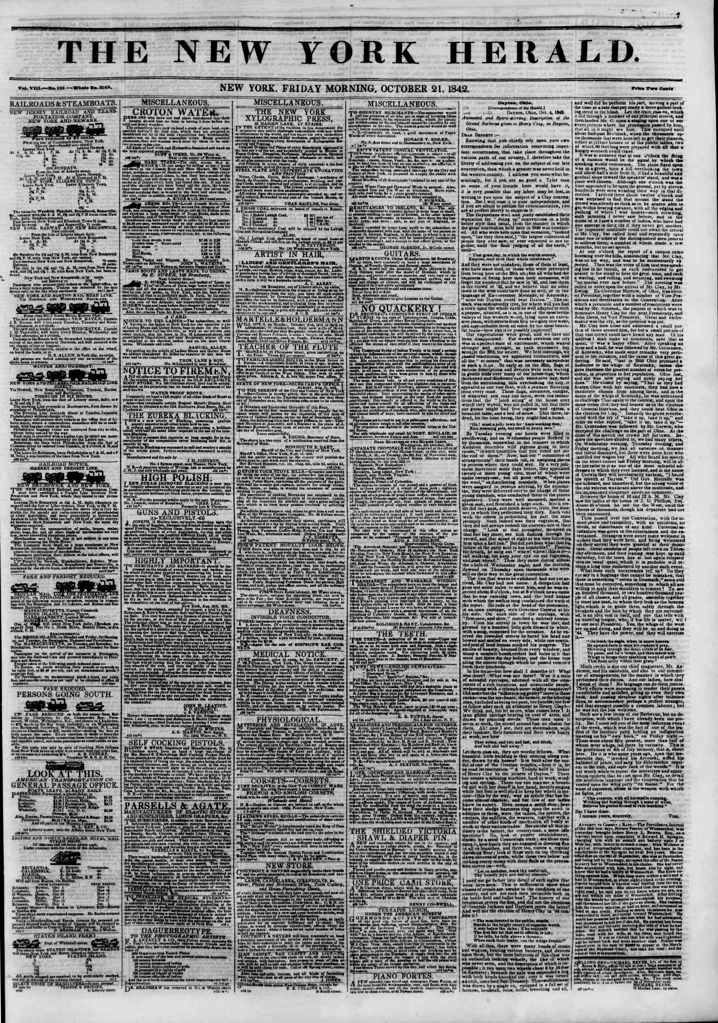 Newspaper of The New York Herald dated October 21, 1842 Page 1