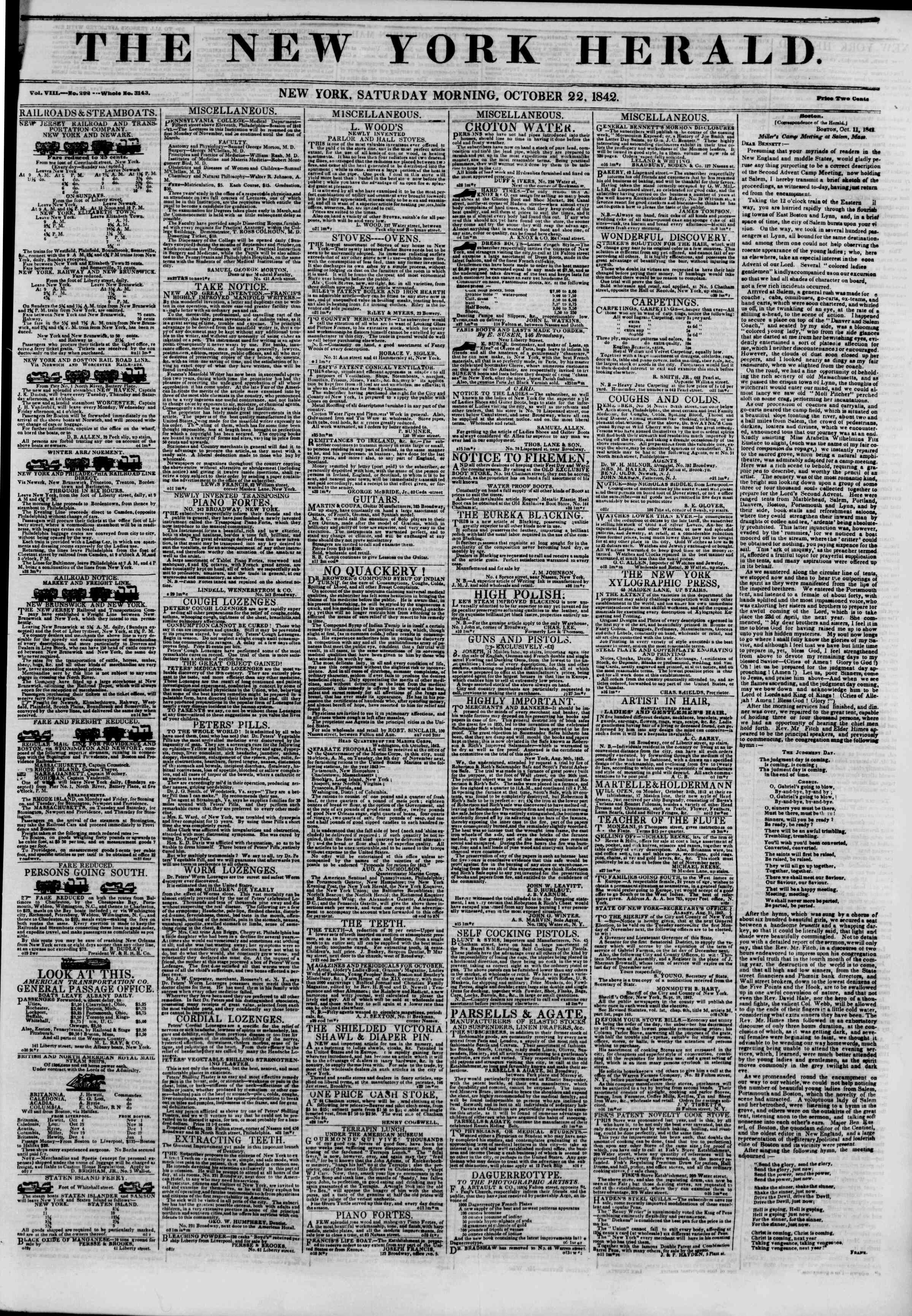 Newspaper of The New York Herald dated October 22, 1842 Page 1