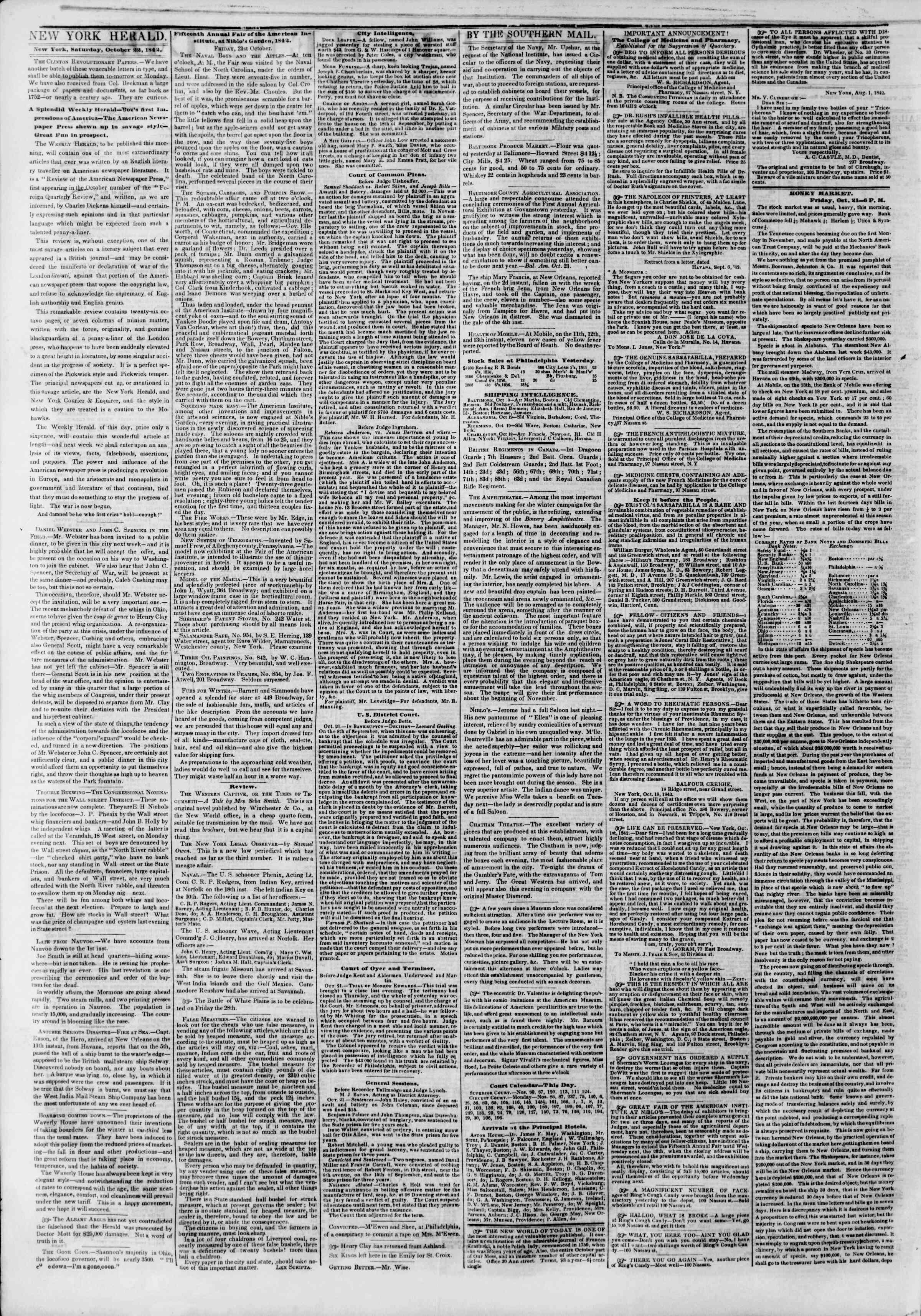 October 22, 1842 Tarihli The New York Herald Gazetesi Sayfa 2