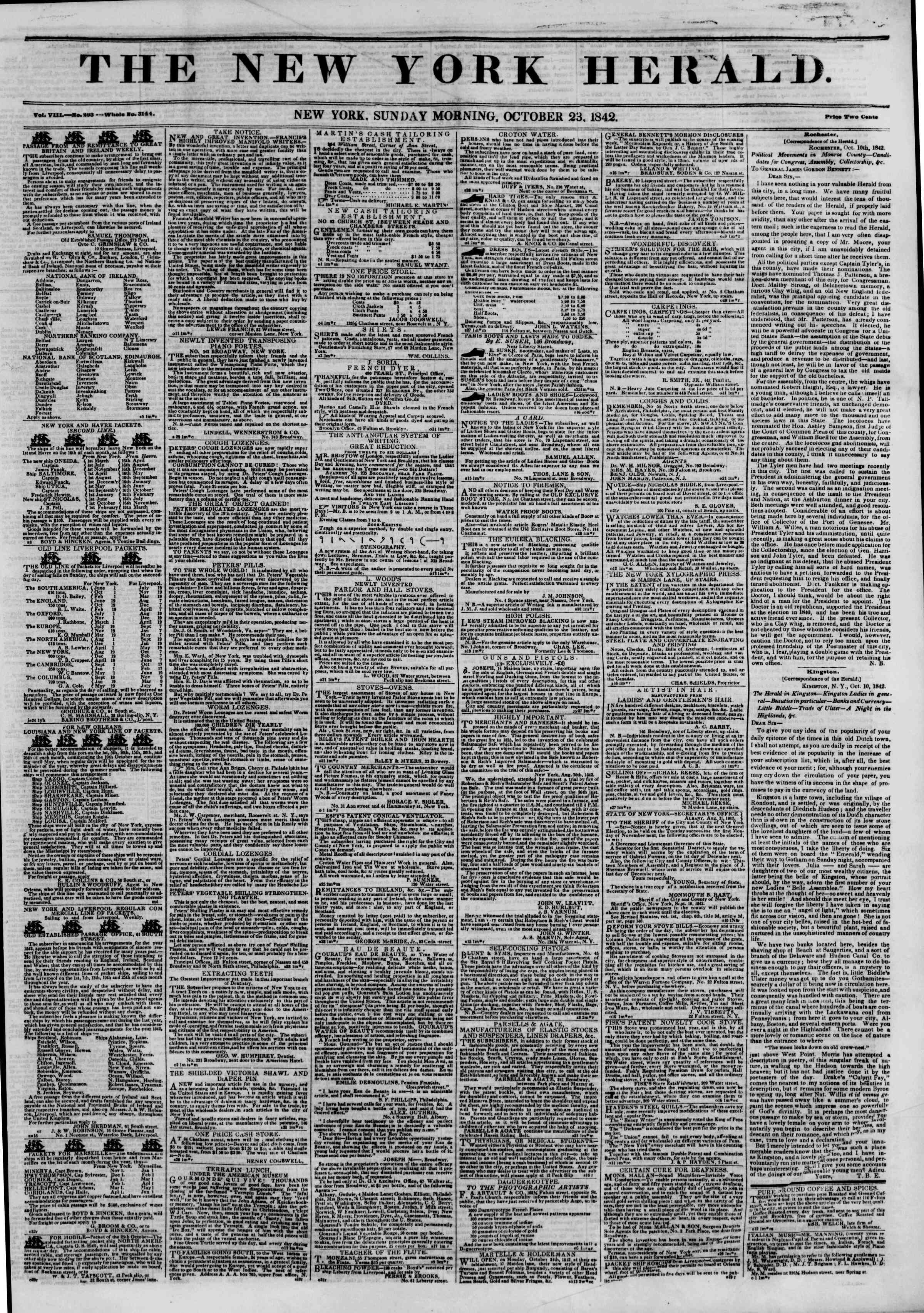 Newspaper of The New York Herald dated October 23, 1842 Page 1