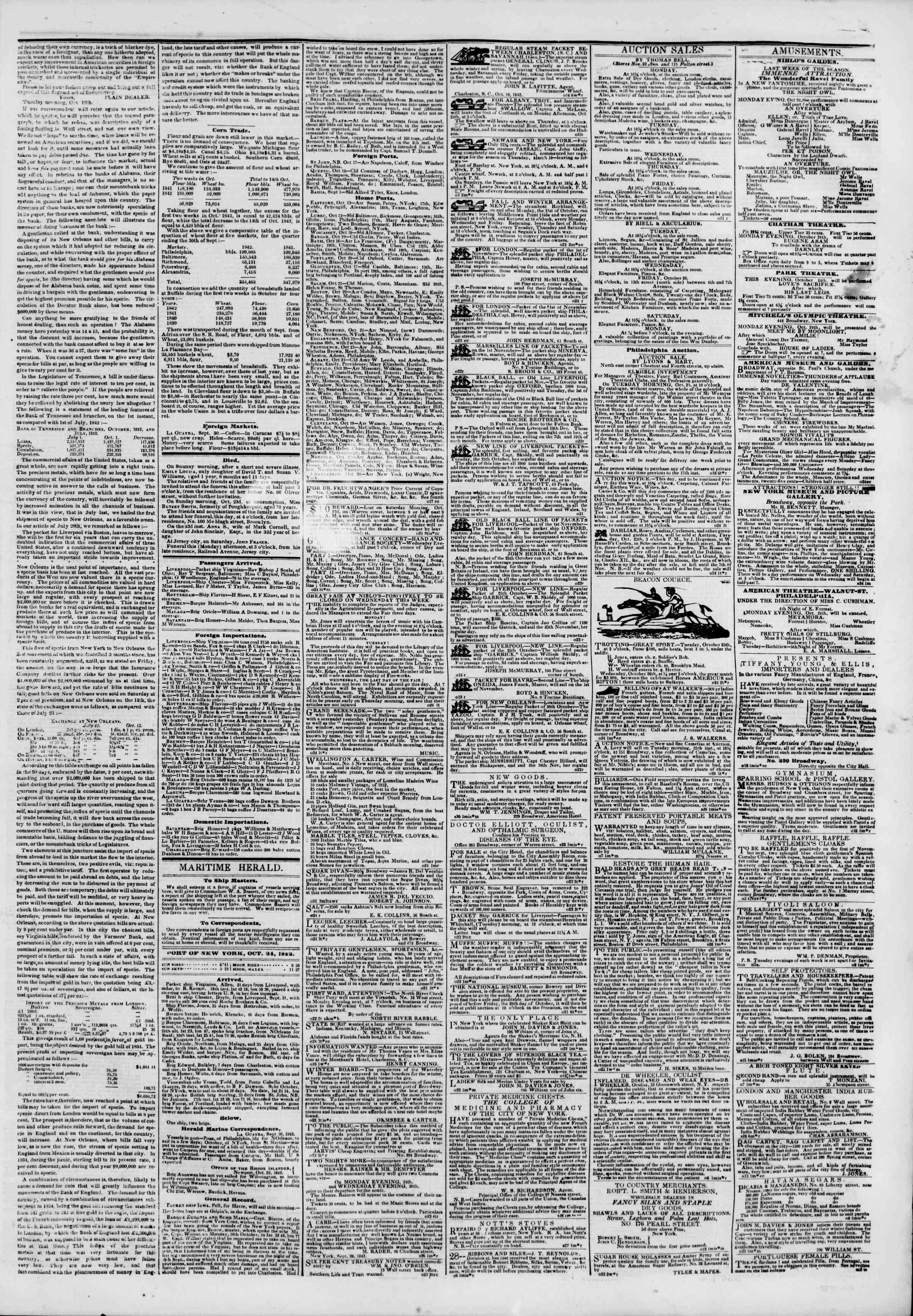 October 24, 1842 Tarihli The New York Herald Gazetesi Sayfa 3