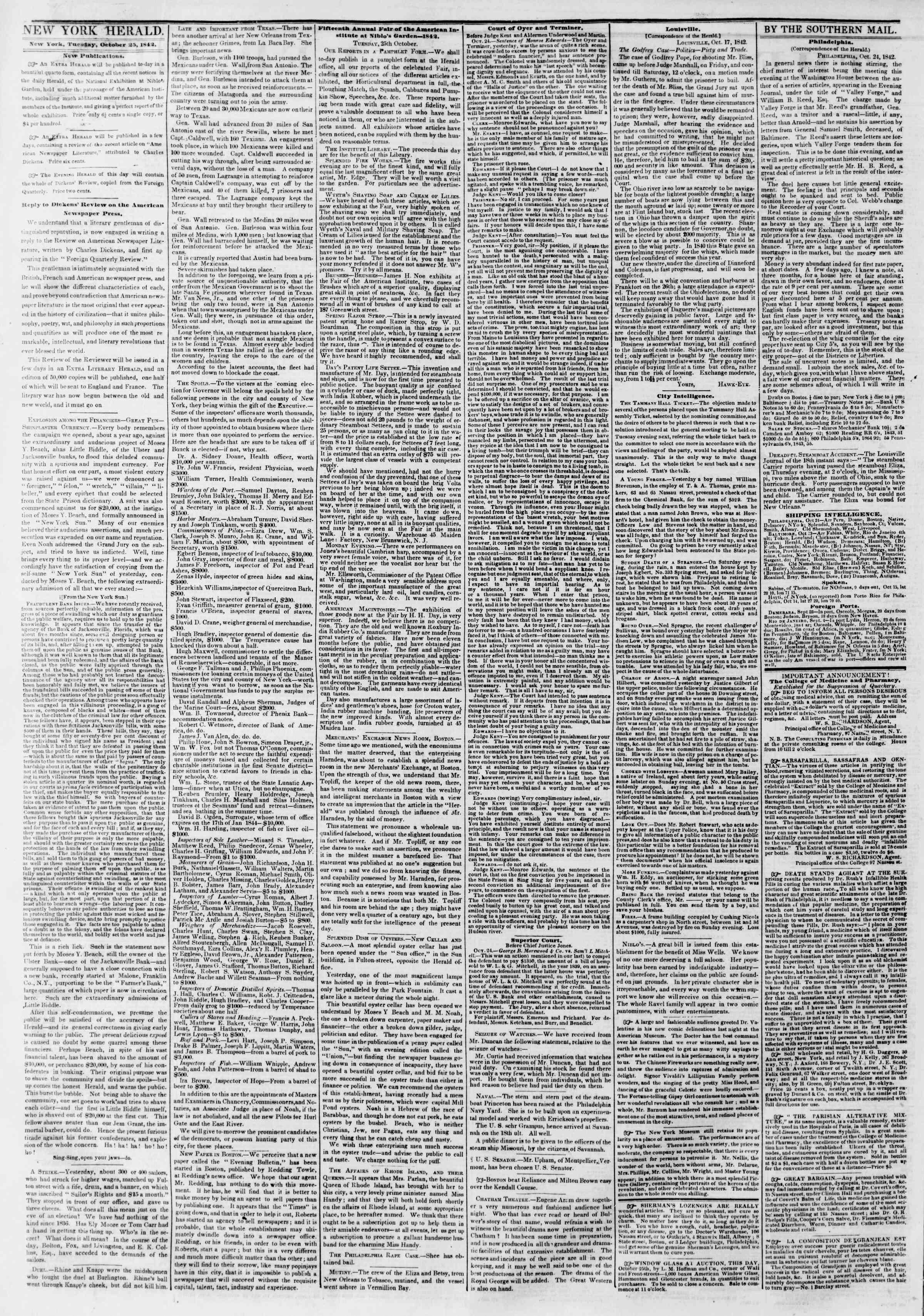 October 25, 1842 Tarihli The New York Herald Gazetesi Sayfa 2