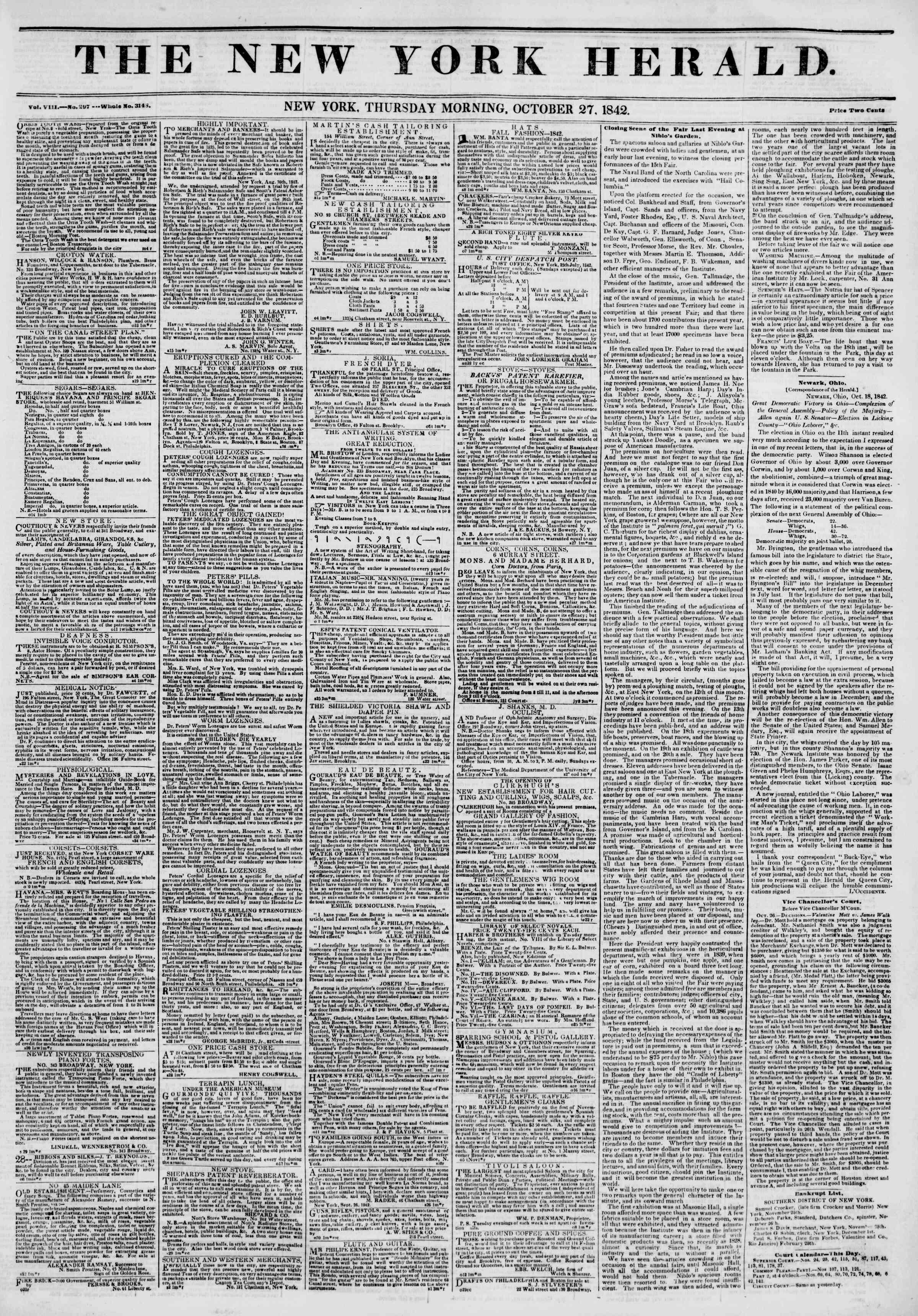 October 27, 1842 Tarihli The New York Herald Gazetesi Sayfa 1