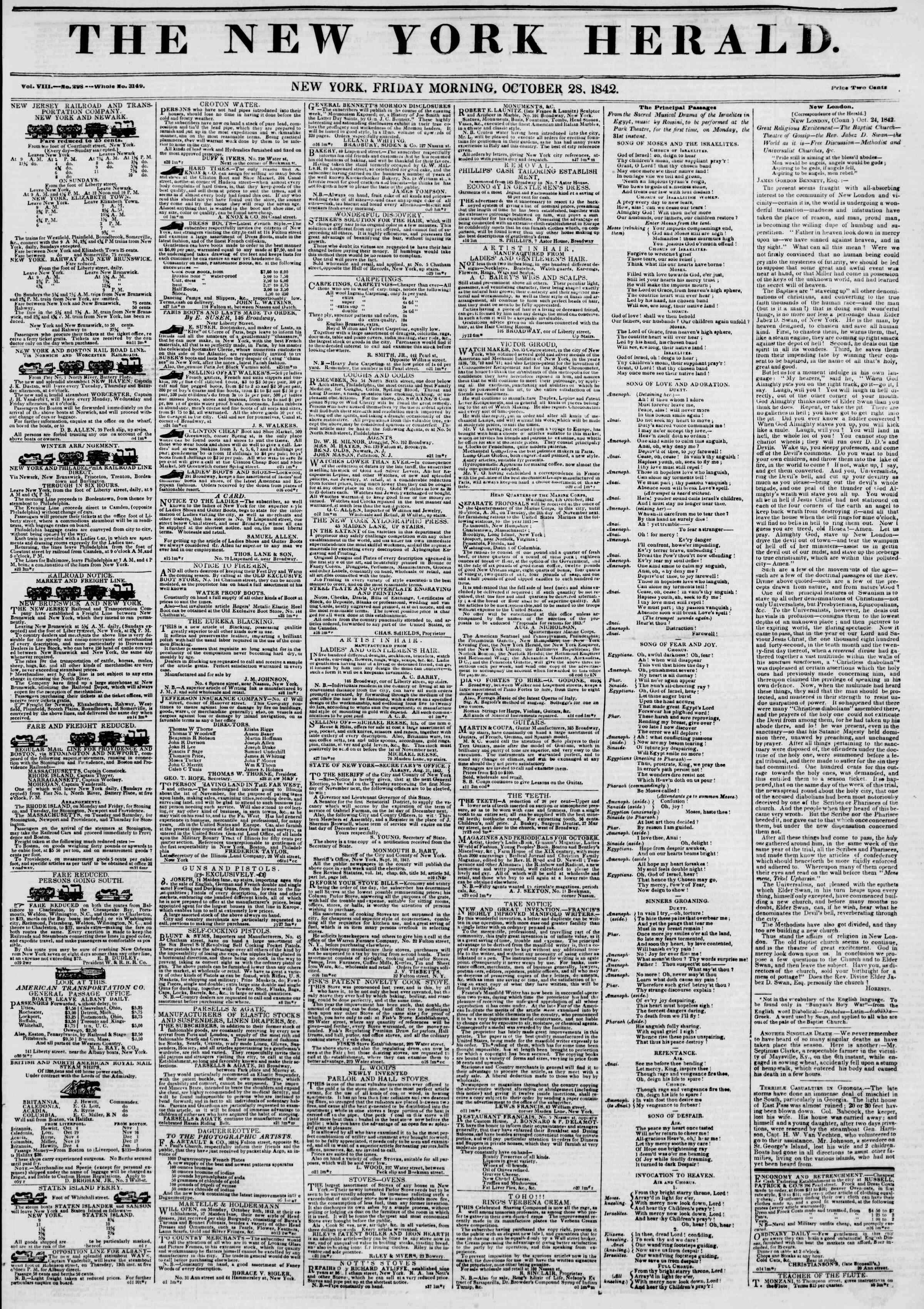 Newspaper of The New York Herald dated October 28, 1842 Page 1