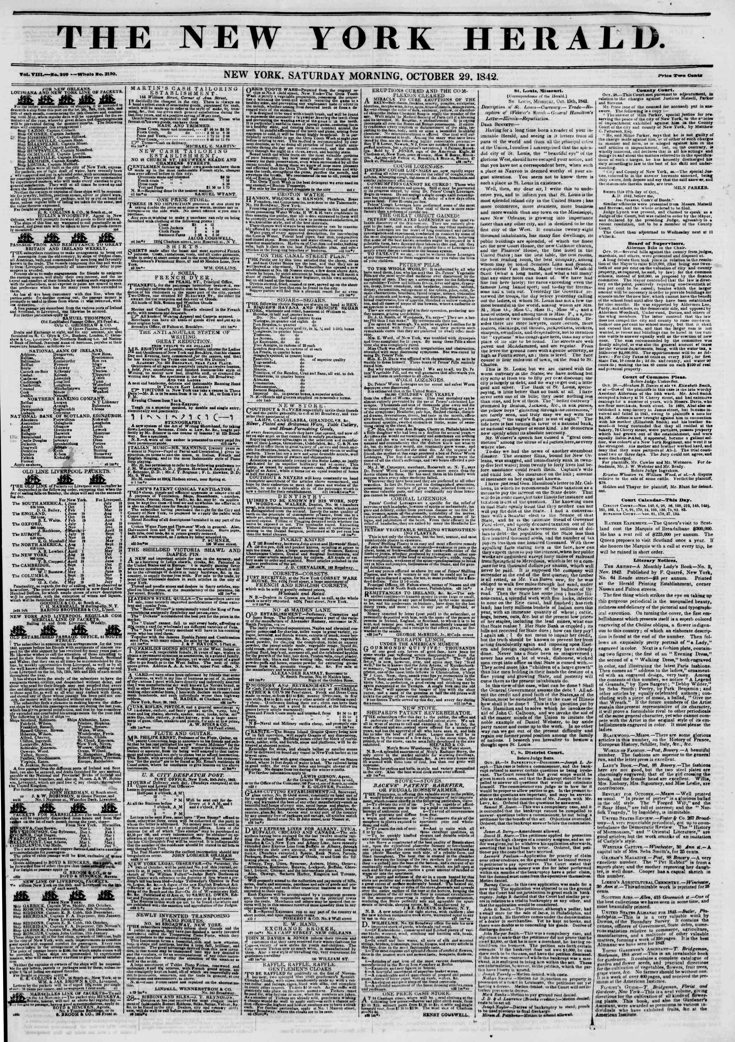 October 29, 1842 Tarihli The New York Herald Gazetesi Sayfa 1