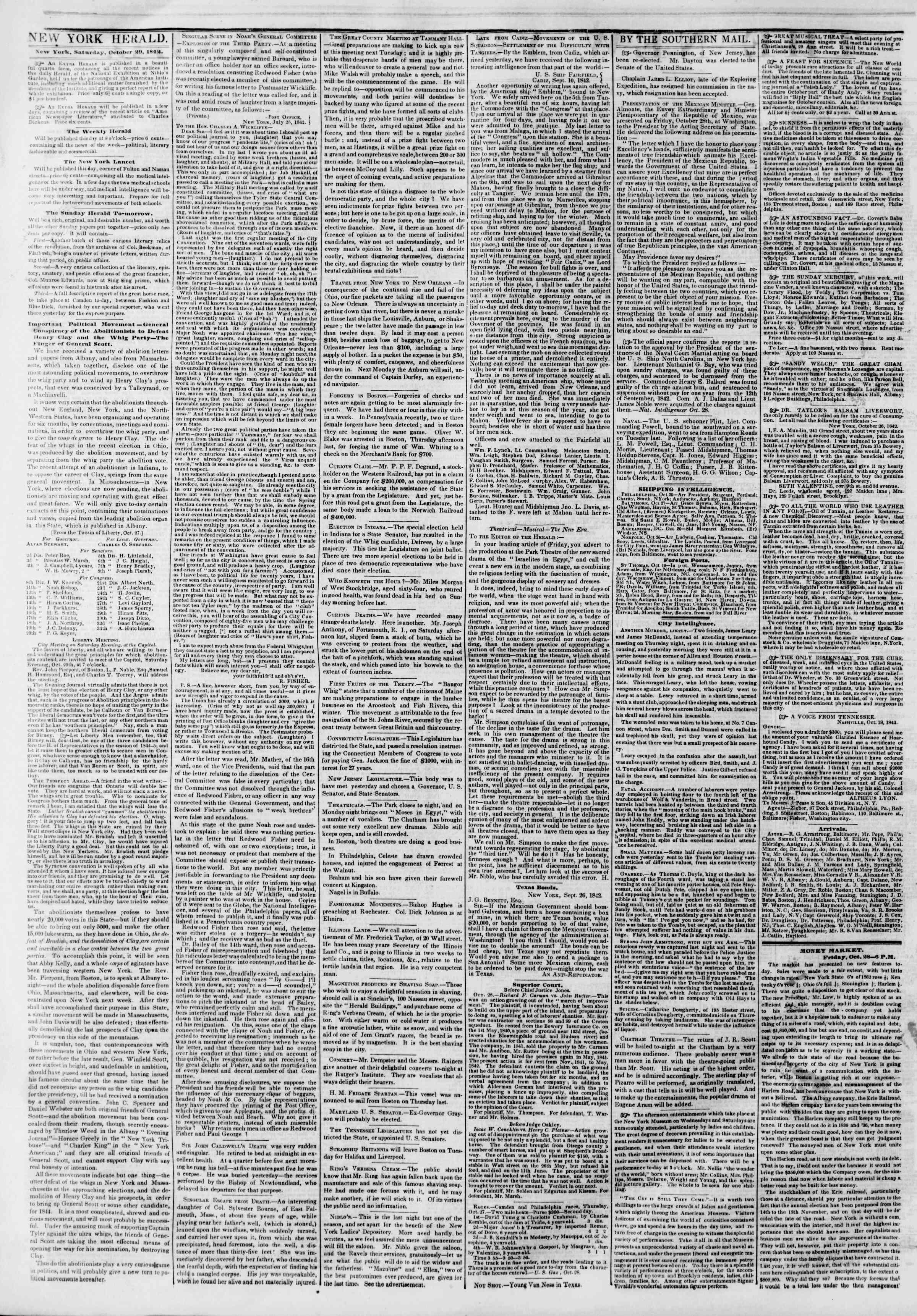 October 29, 1842 Tarihli The New York Herald Gazetesi Sayfa 2