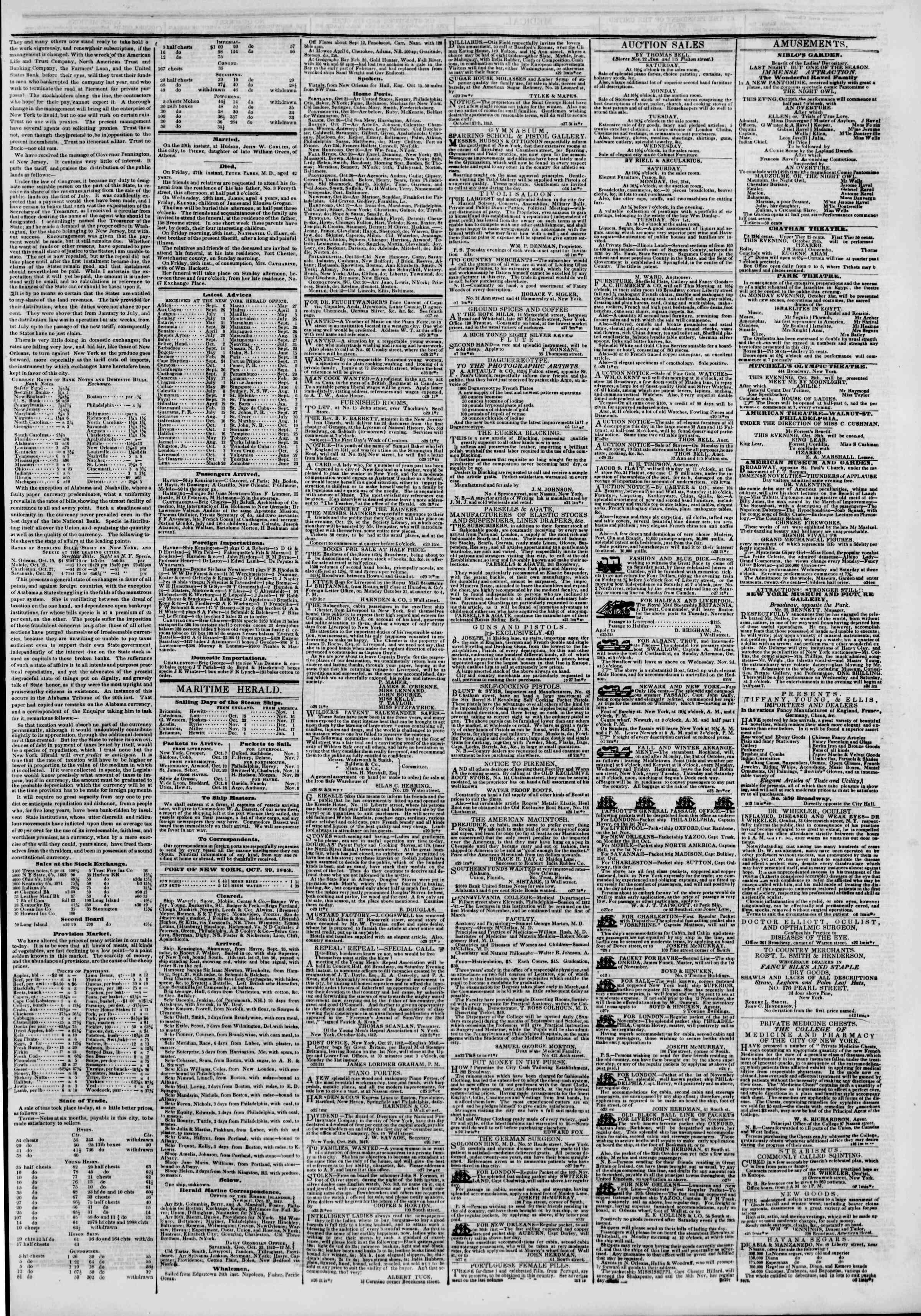 29 Ekim 1842 Tarihli The New York Herald Gazetesi Sayfa 3