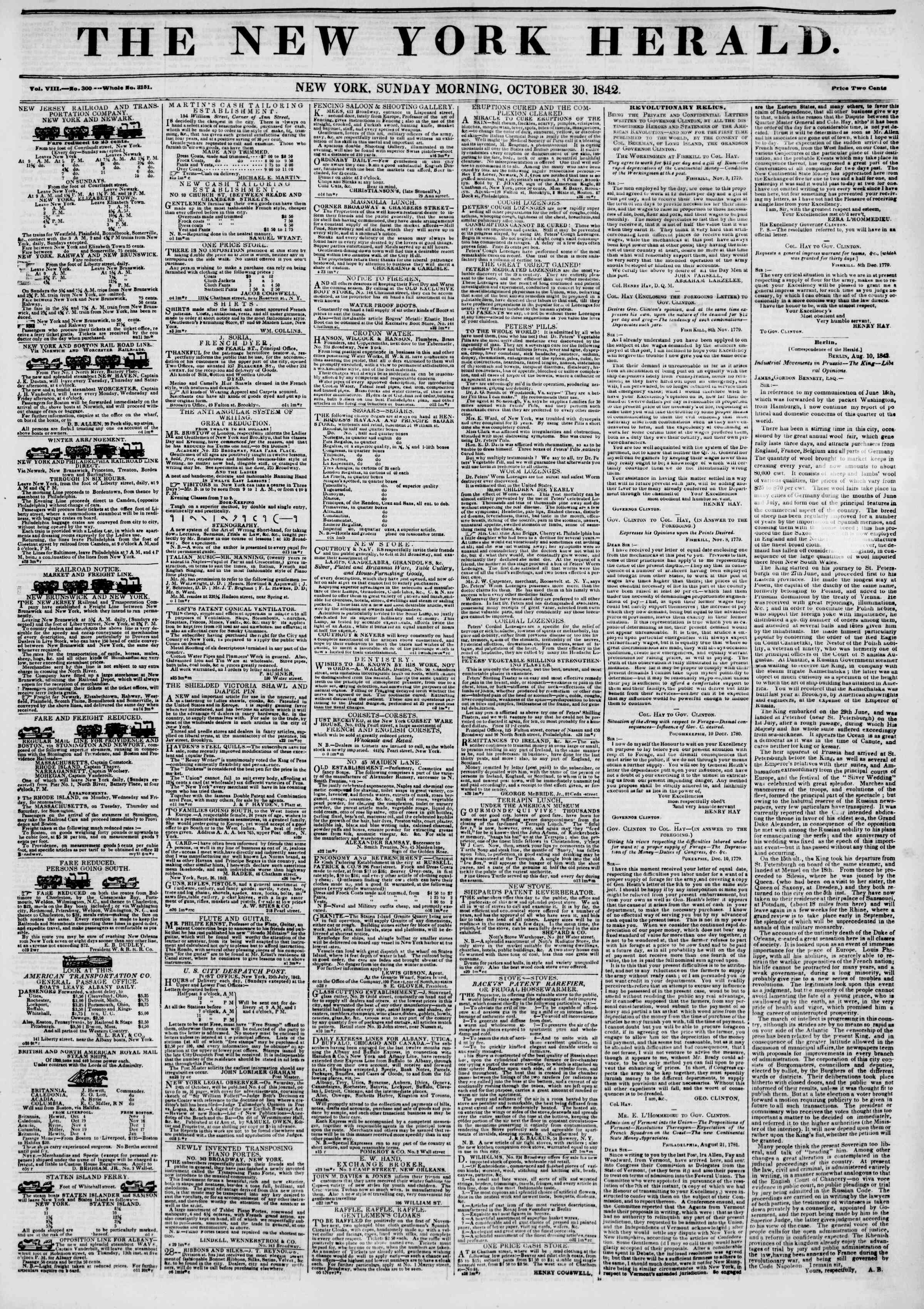 Newspaper of The New York Herald dated October 30, 1842 Page 1