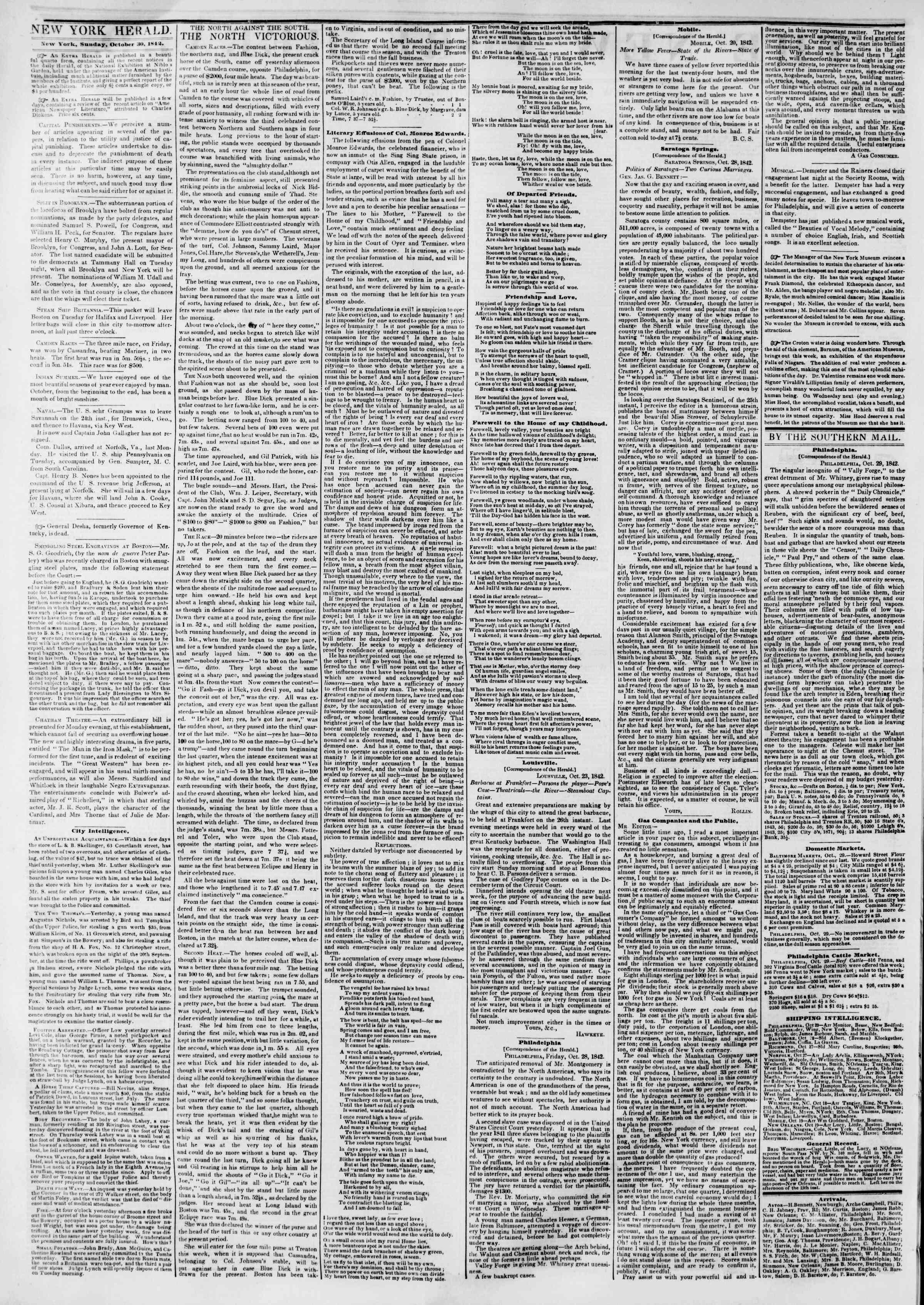 October 30, 1842 Tarihli The New York Herald Gazetesi Sayfa 2