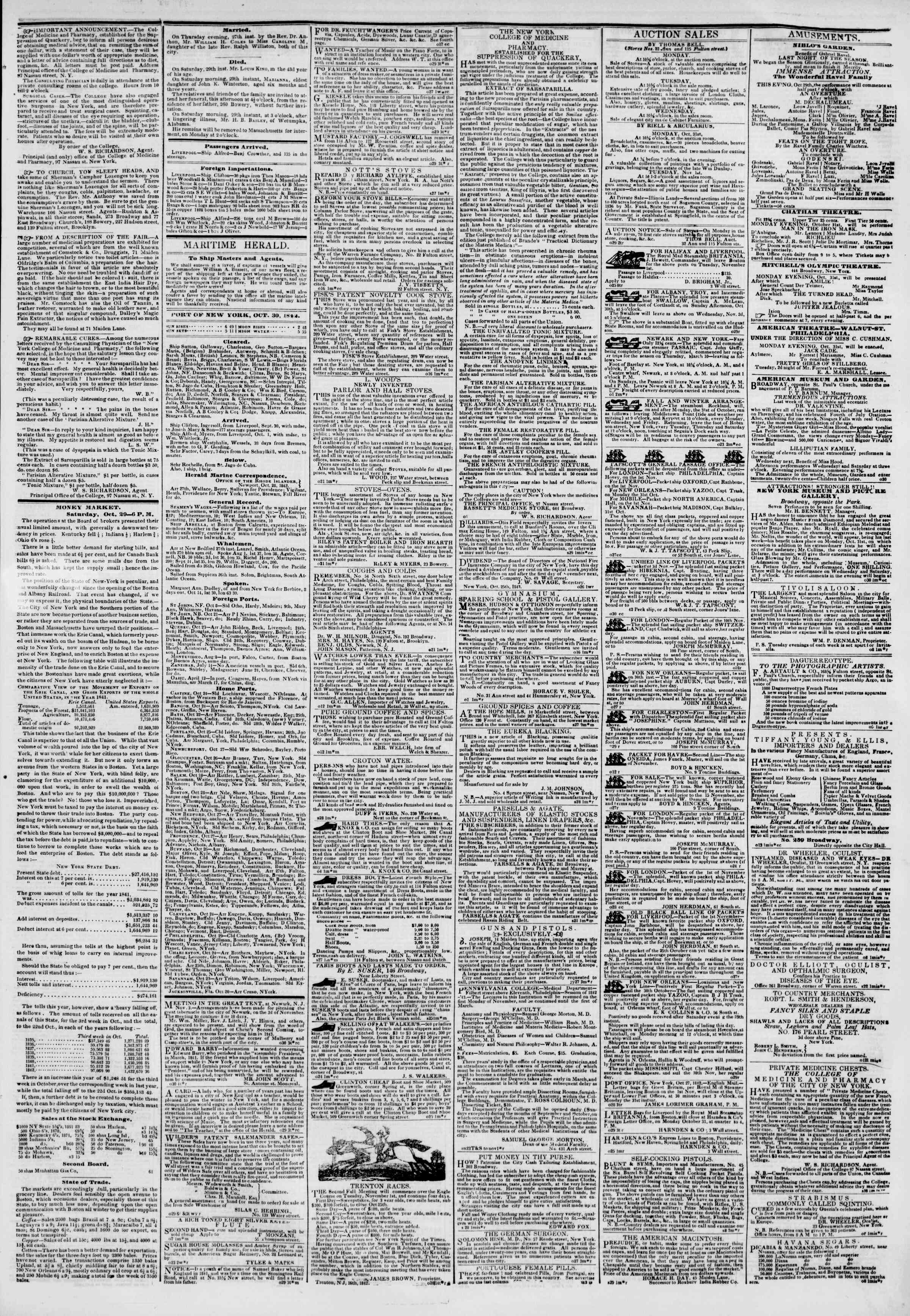 Newspaper of The New York Herald dated October 30, 1842 Page 3