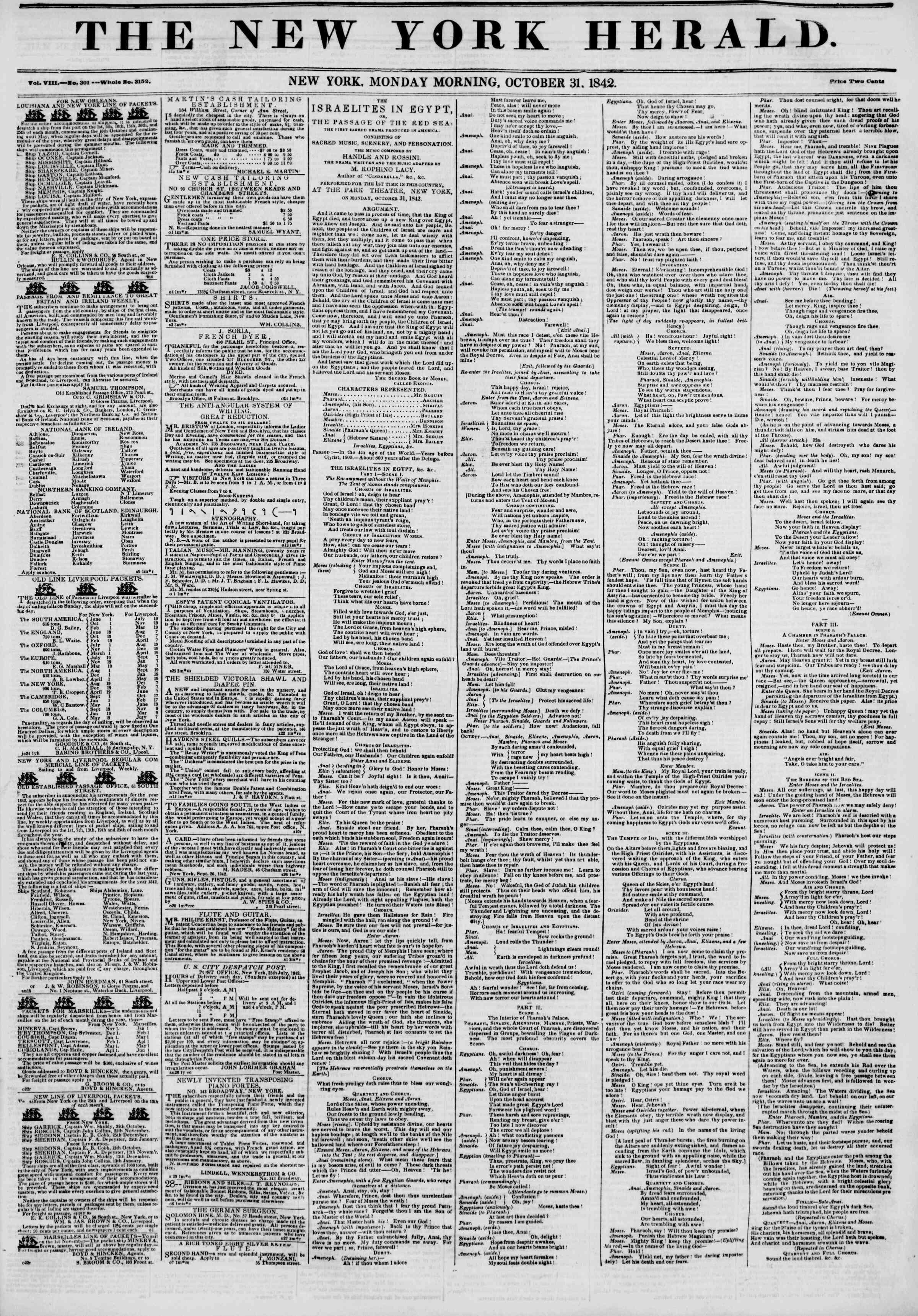 October 31, 1842 Tarihli The New York Herald Gazetesi Sayfa 1