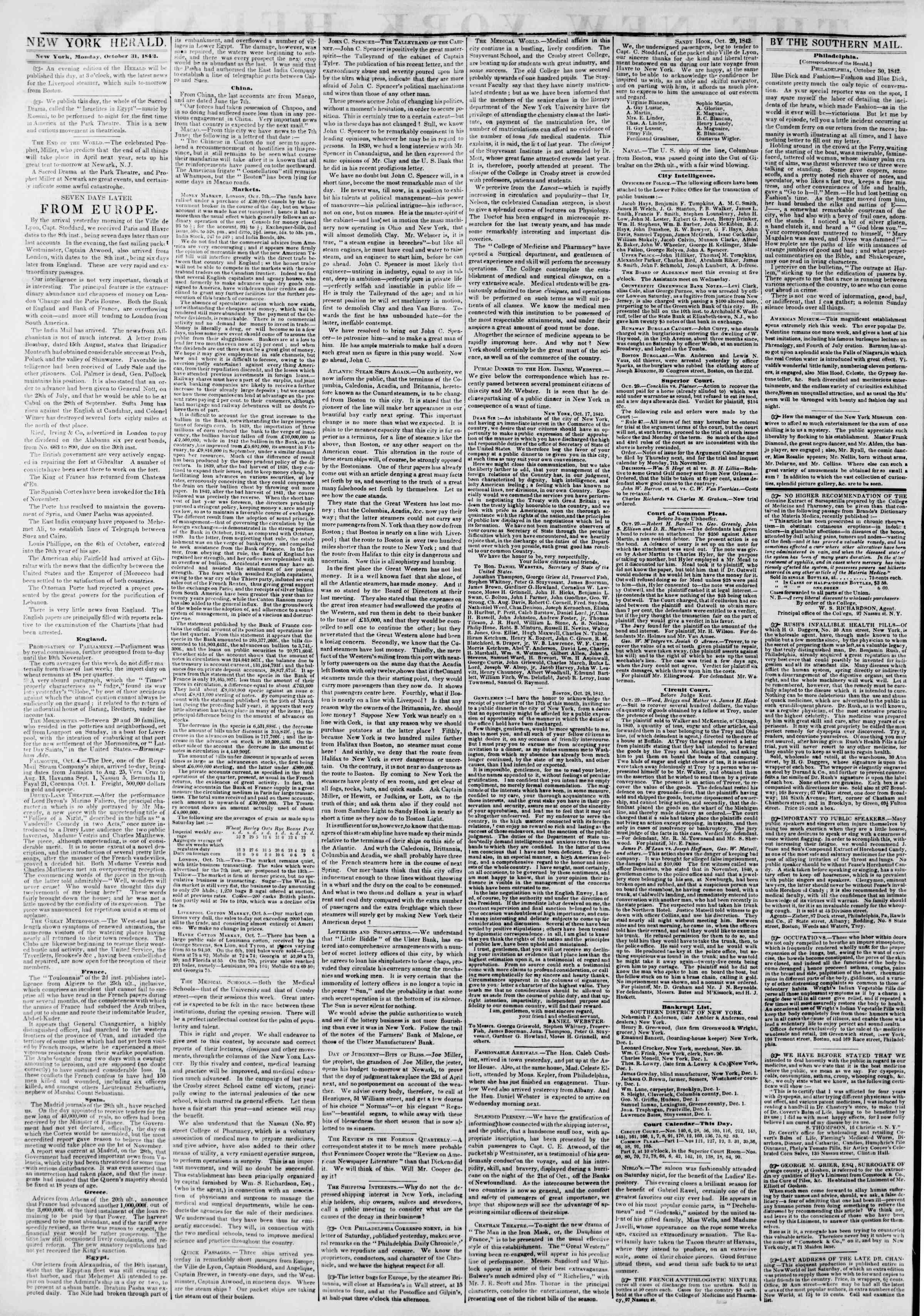 Newspaper of The New York Herald dated October 31, 1842 Page 2