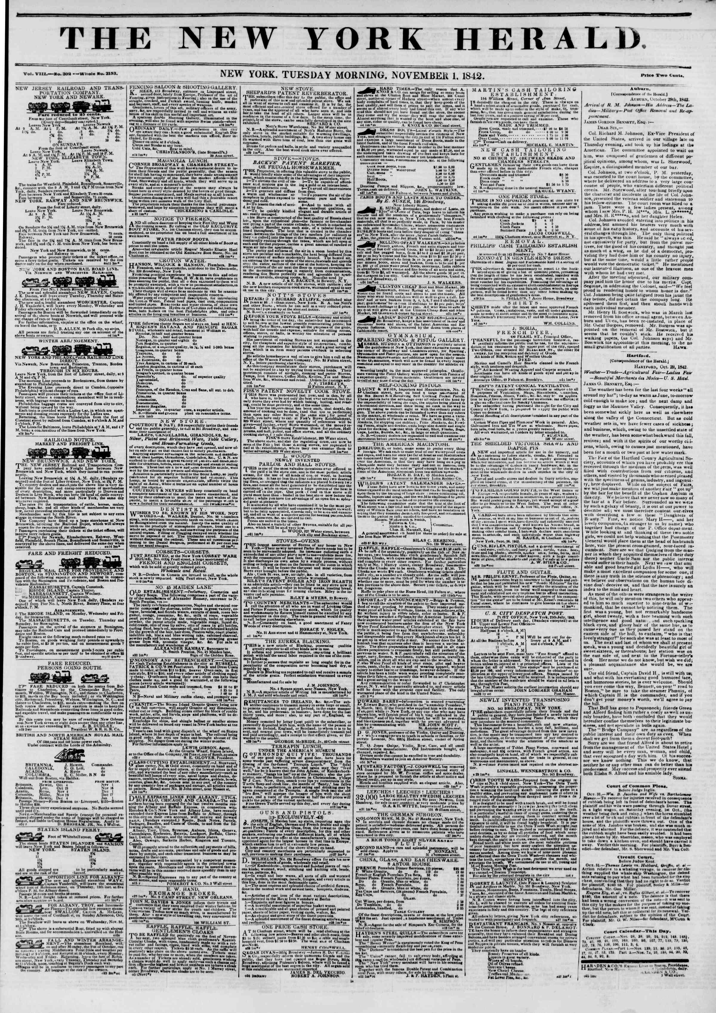 November 1, 1842 Tarihli The New York Herald Gazetesi Sayfa 1