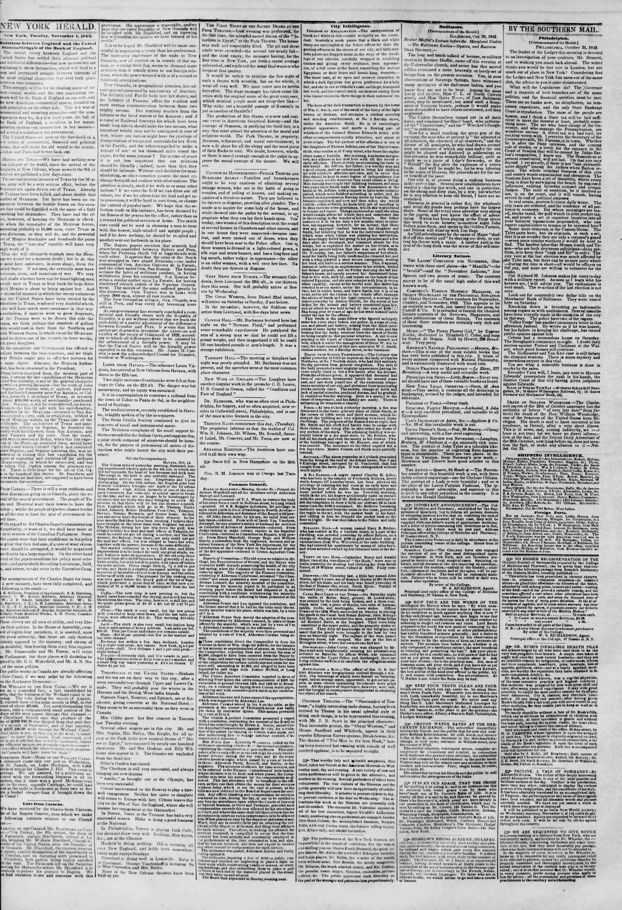 Newspaper of The New York Herald dated November 1, 1842 Page 2