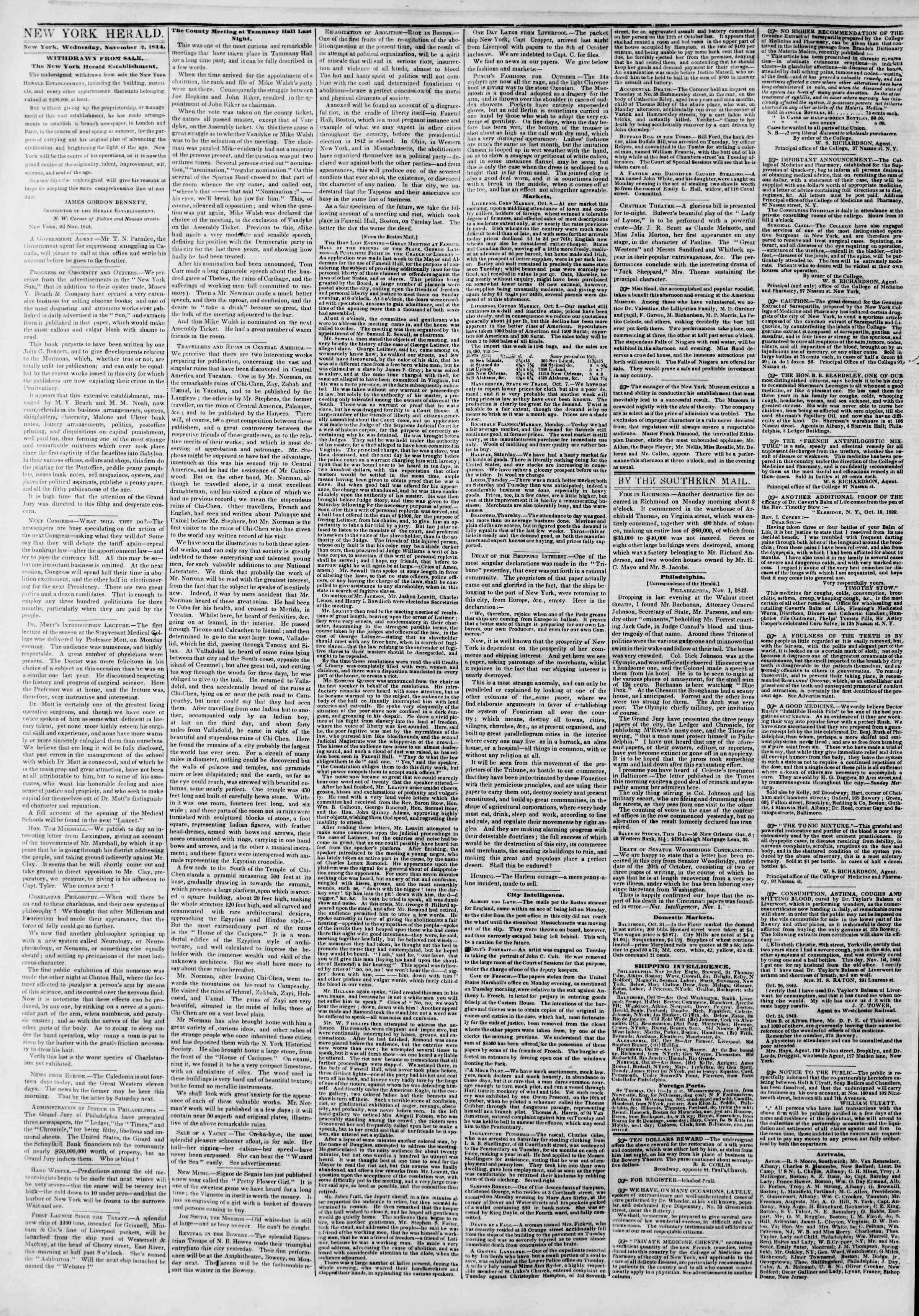 Newspaper of The New York Herald dated November 2, 1842 Page 2