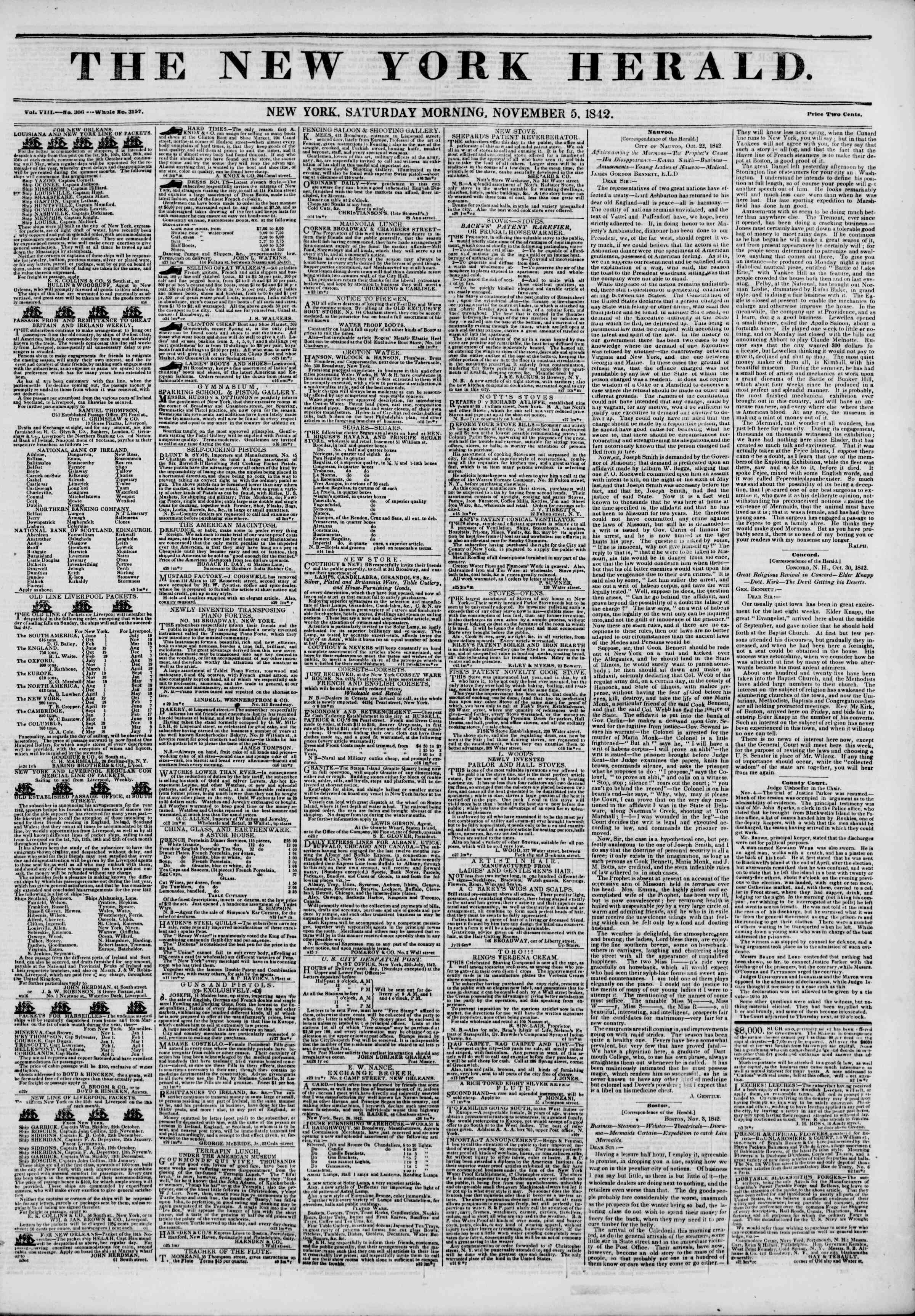 Newspaper of The New York Herald dated November 5, 1842 Page 1