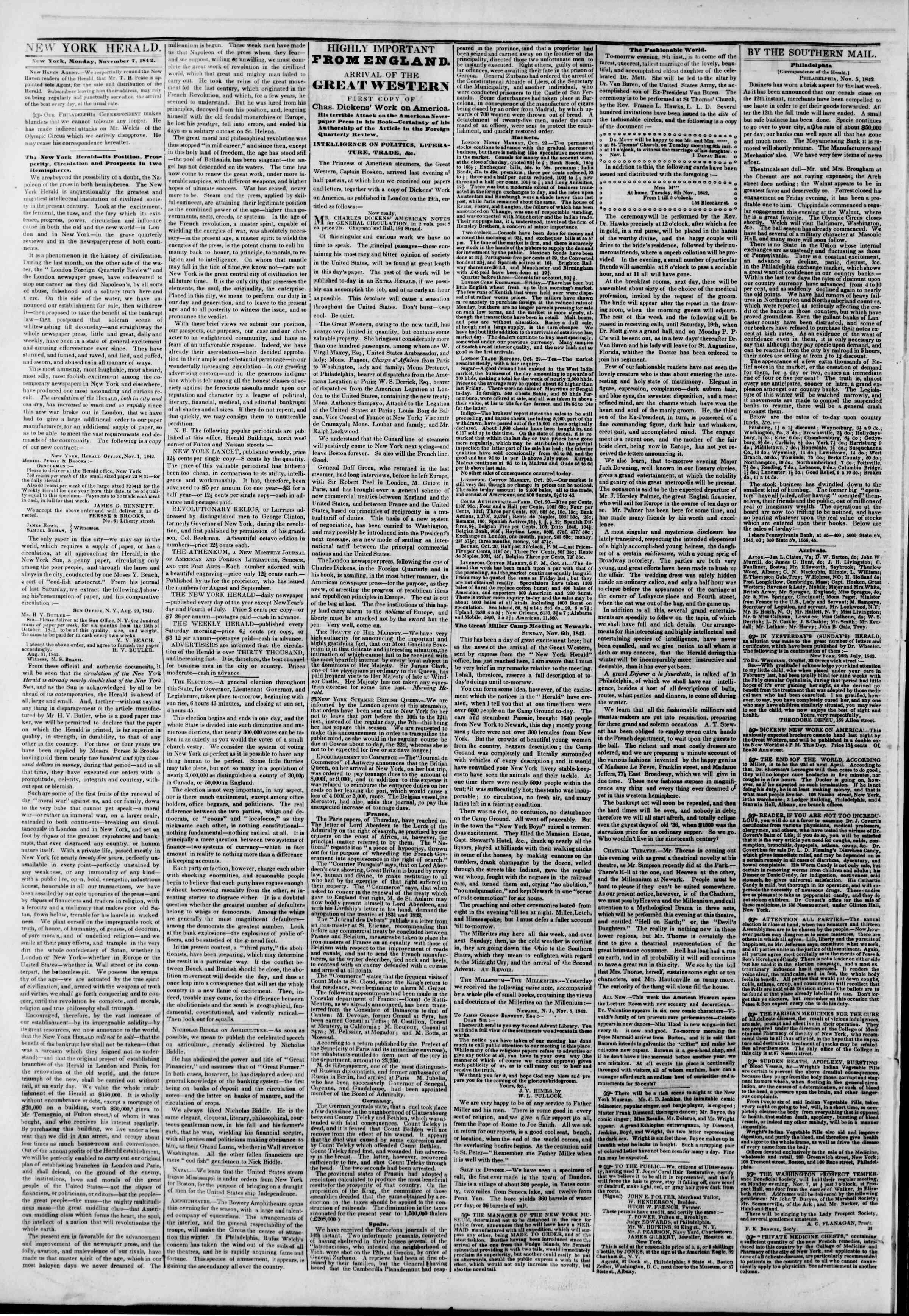 November 7, 1842 Tarihli The New York Herald Gazetesi Sayfa 2