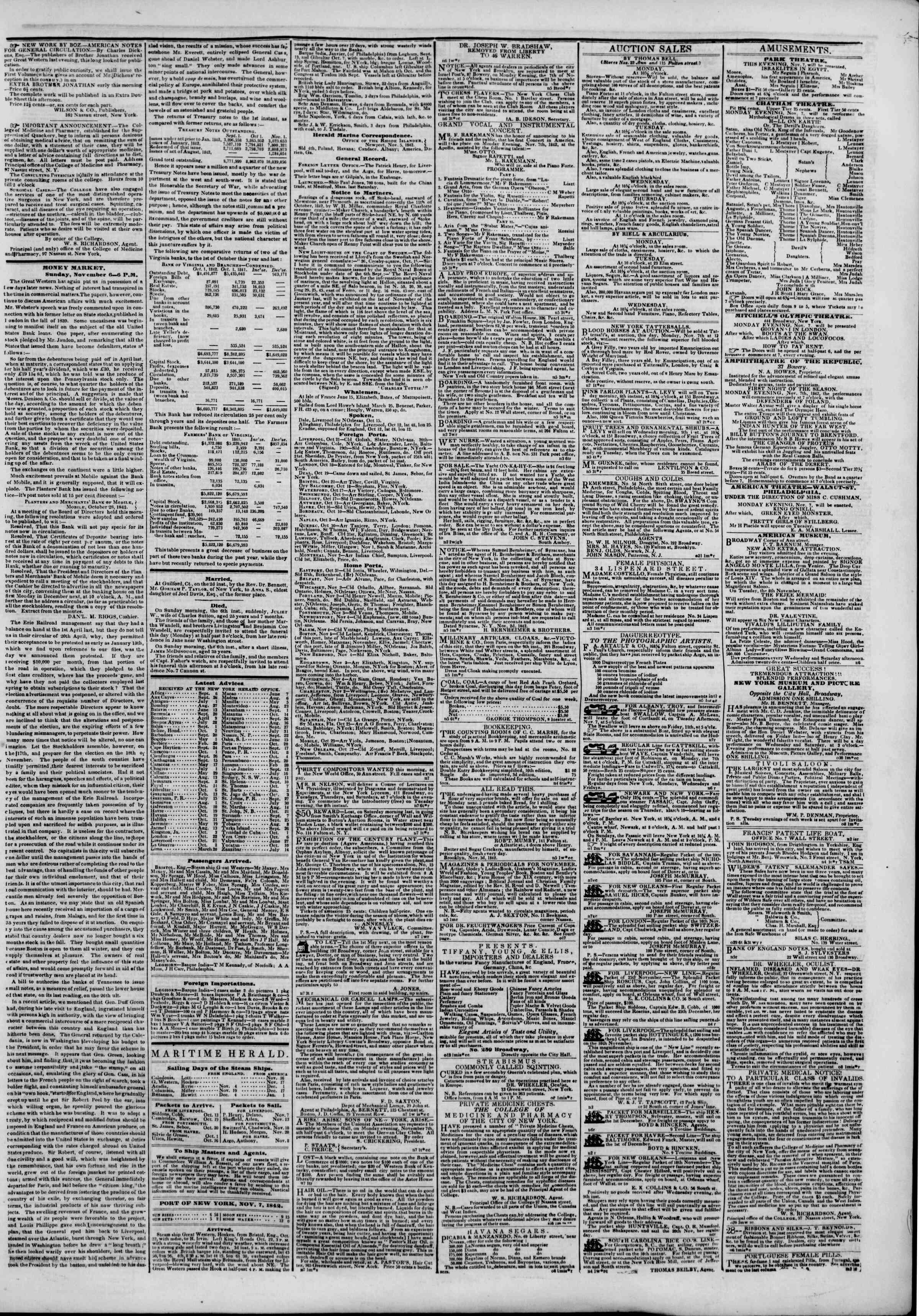 7 Kasım 1842 tarihli The New York Herald Gazetesi Sayfa 3
