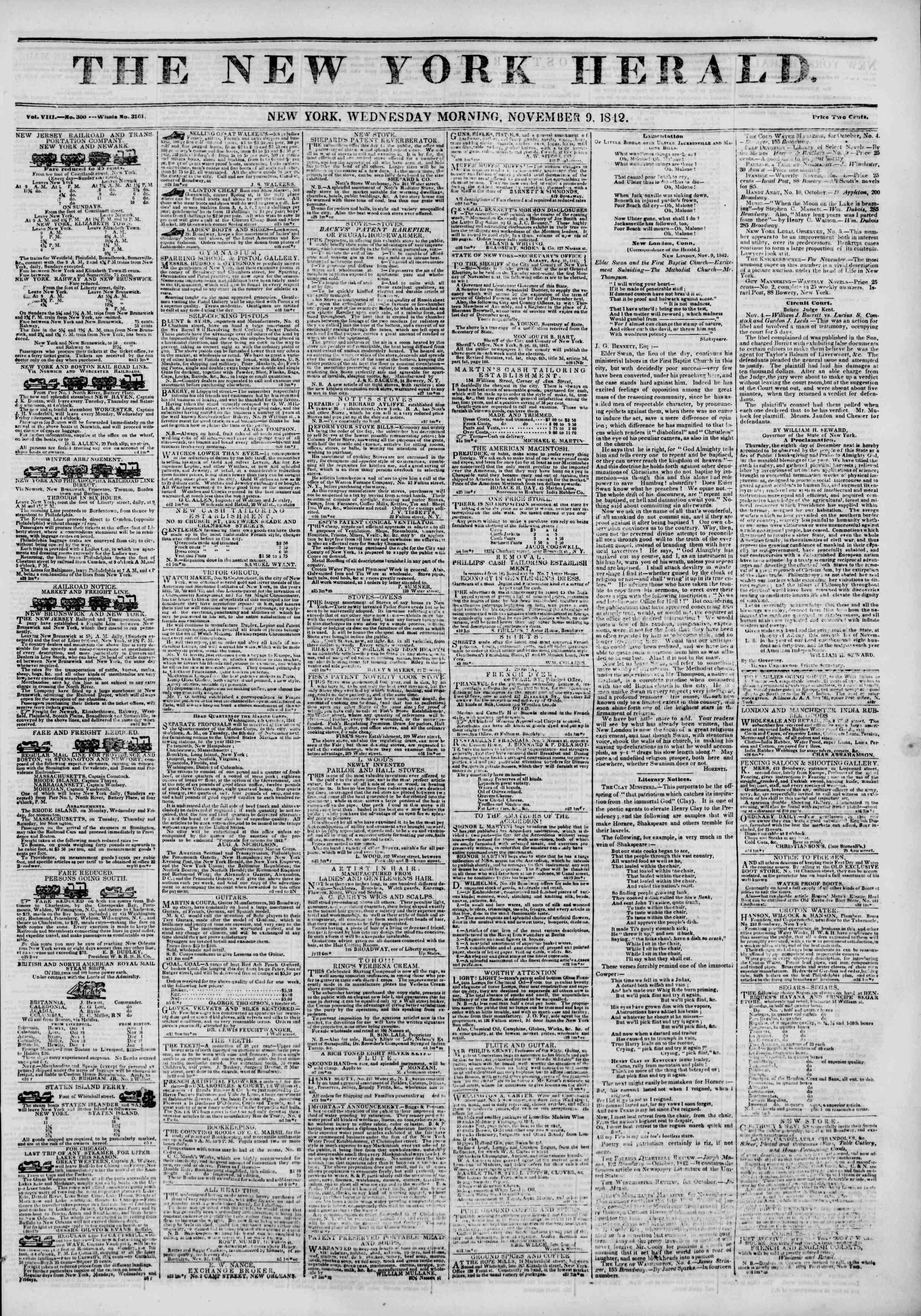 9 Kasım 1842 Tarihli The New York Herald Gazetesi Sayfa 1