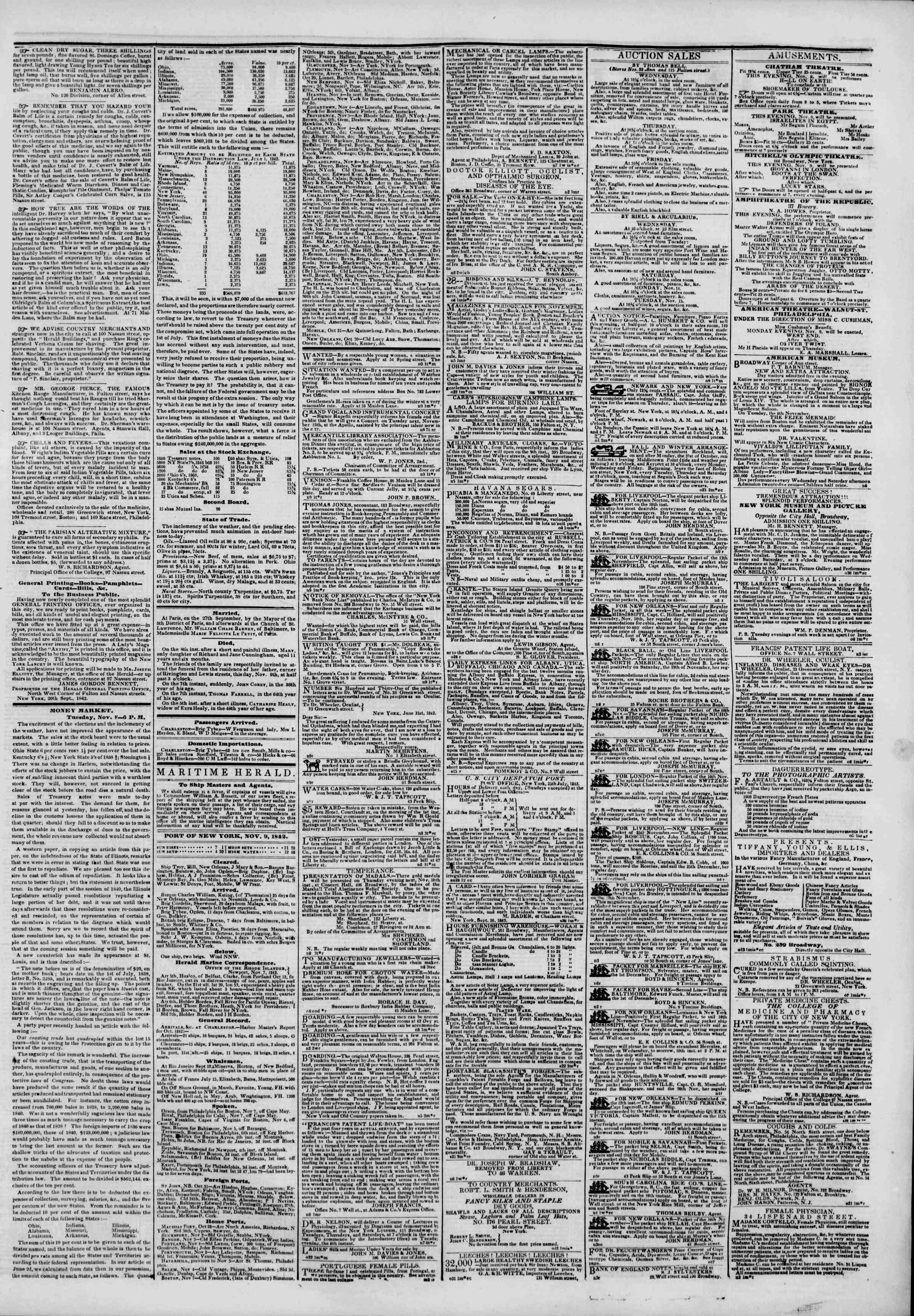 9 Kasım 1842 Tarihli The New York Herald Gazetesi Sayfa 3