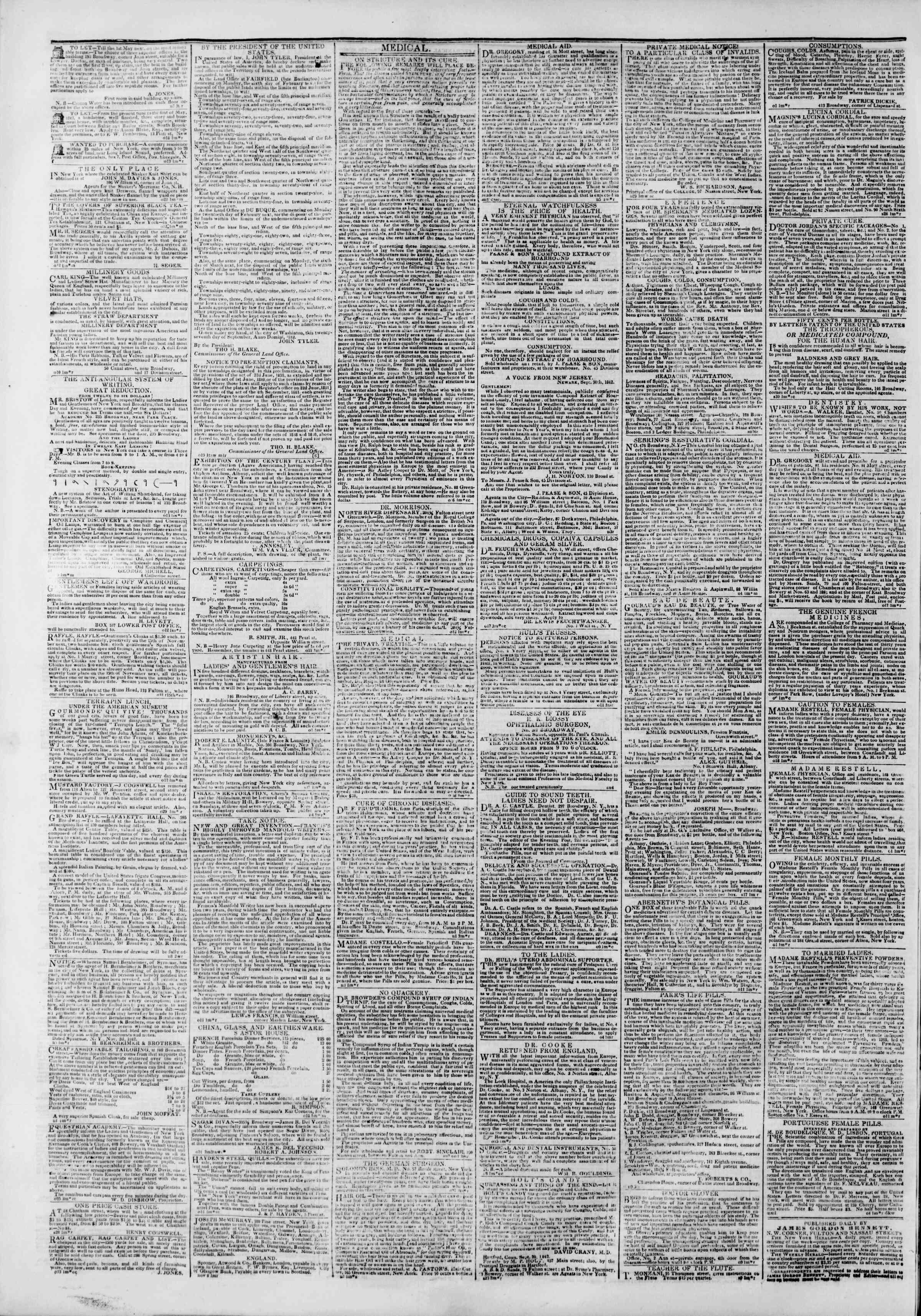 November 9, 1842 Tarihli The New York Herald Gazetesi Sayfa 4