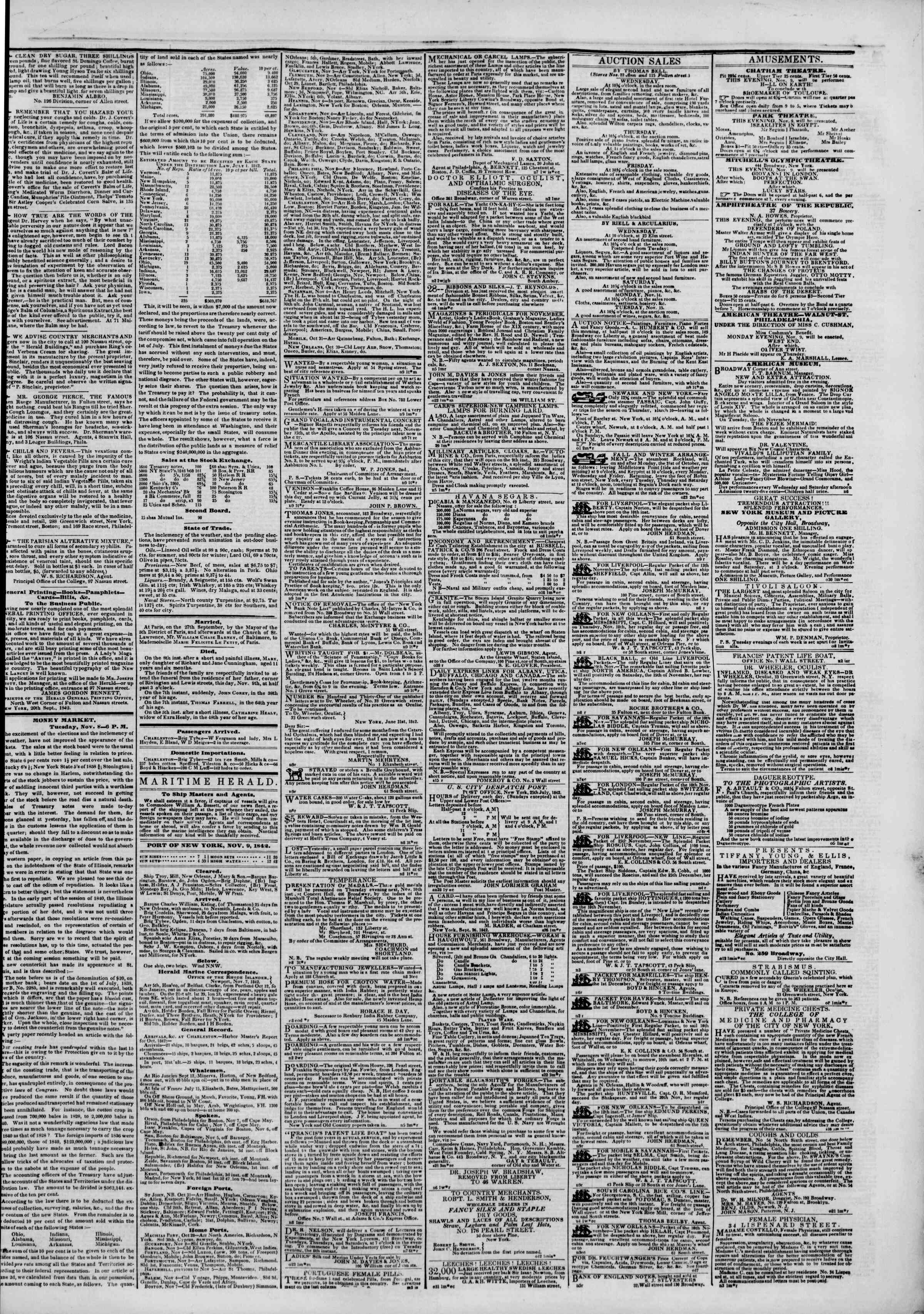 Newspaper of The New York Herald dated November 9, 1842 Page 7