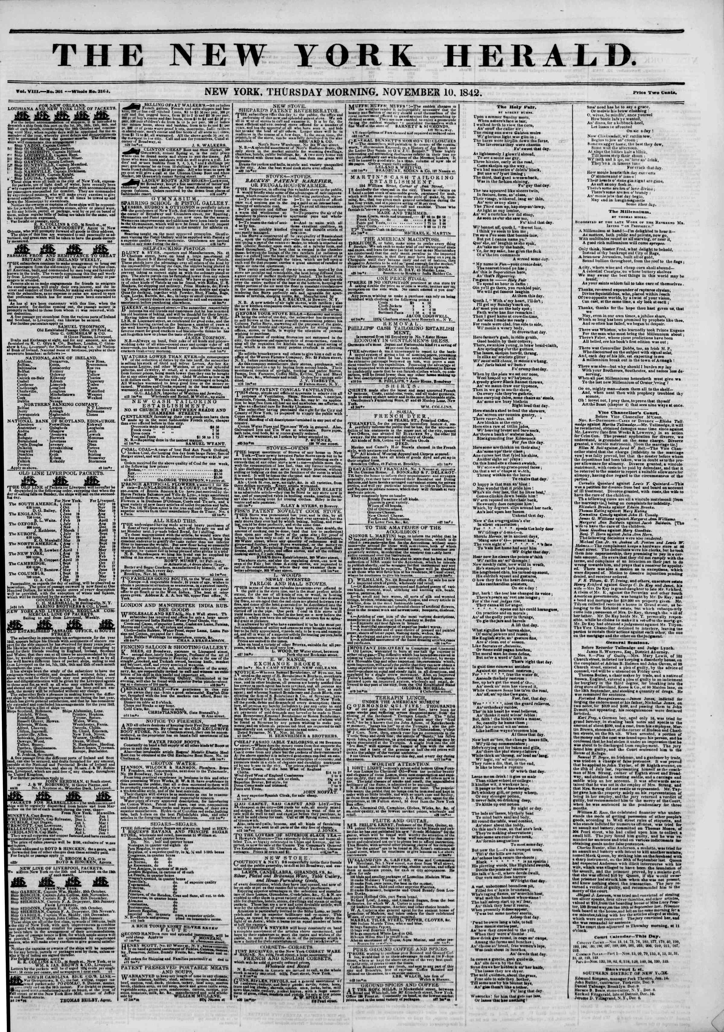 Newspaper of The New York Herald dated November 10, 1842 Page 1