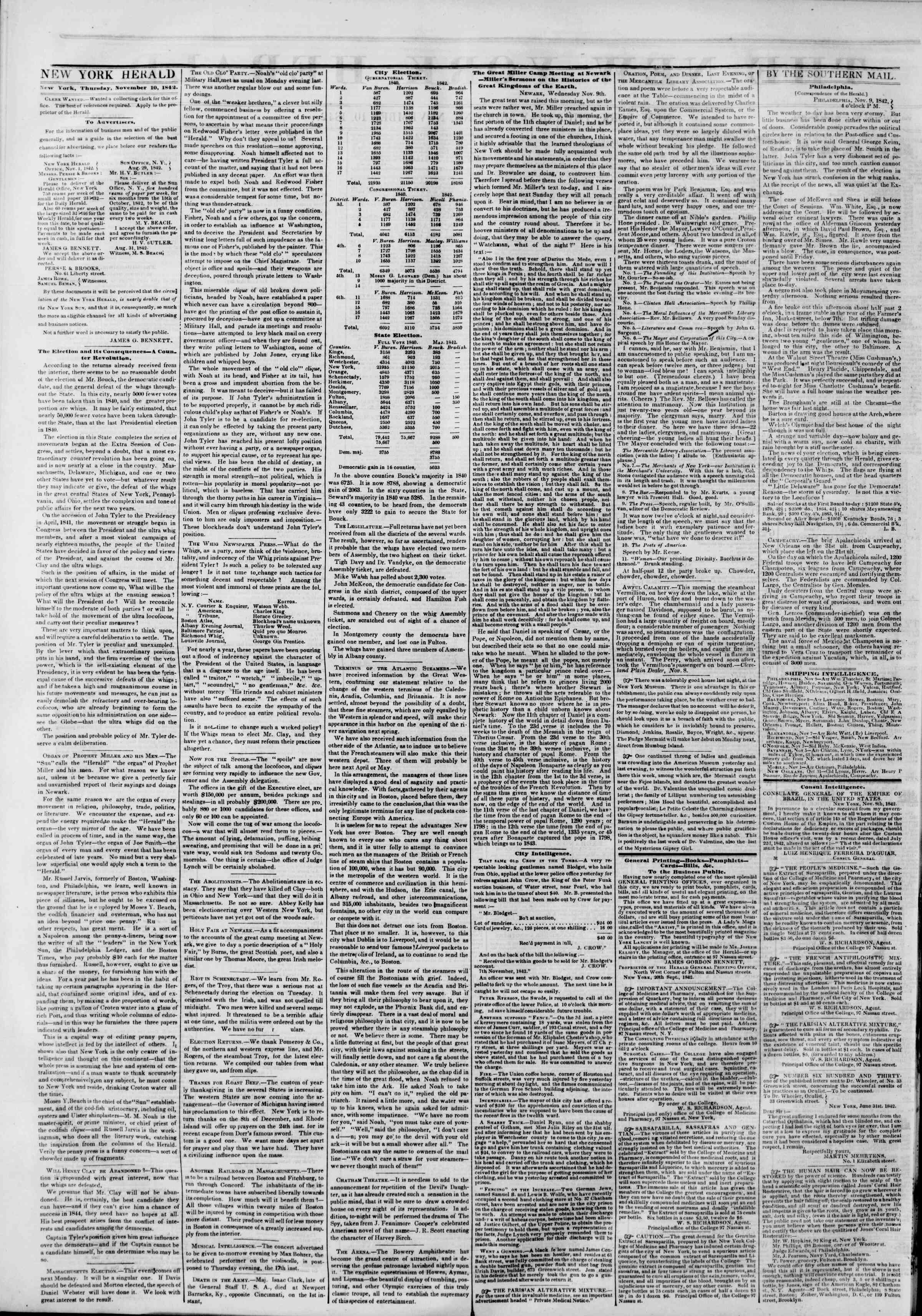 Newspaper of The New York Herald dated November 10, 1842 Page 2