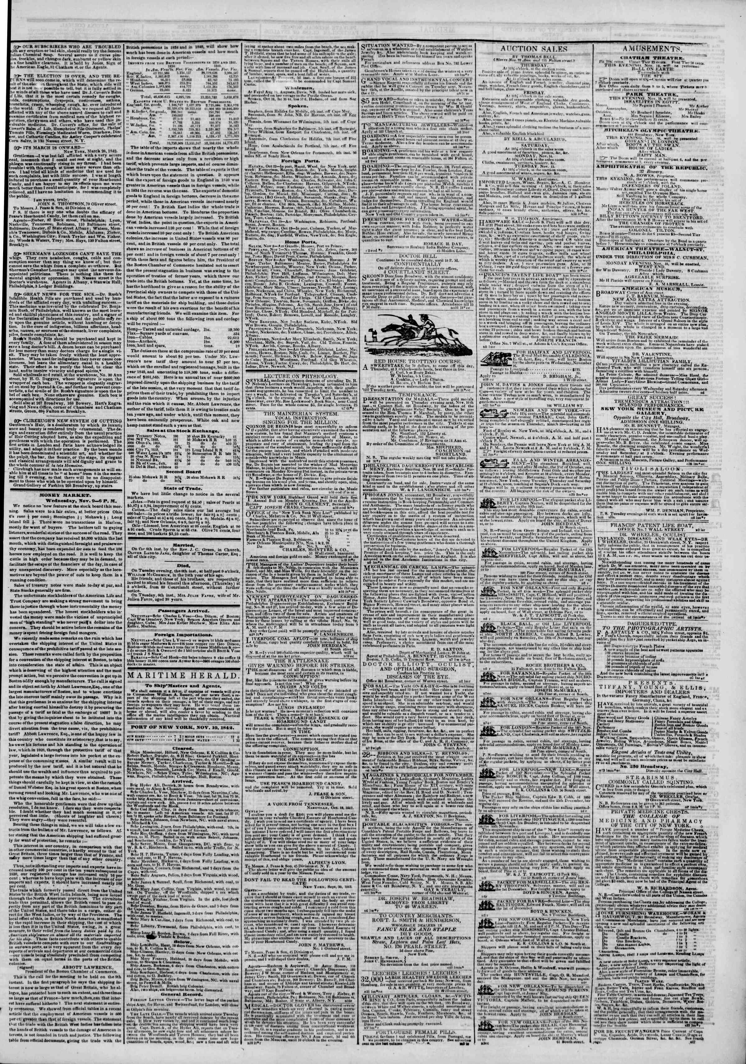 Newspaper of The New York Herald dated November 10, 1842 Page 3