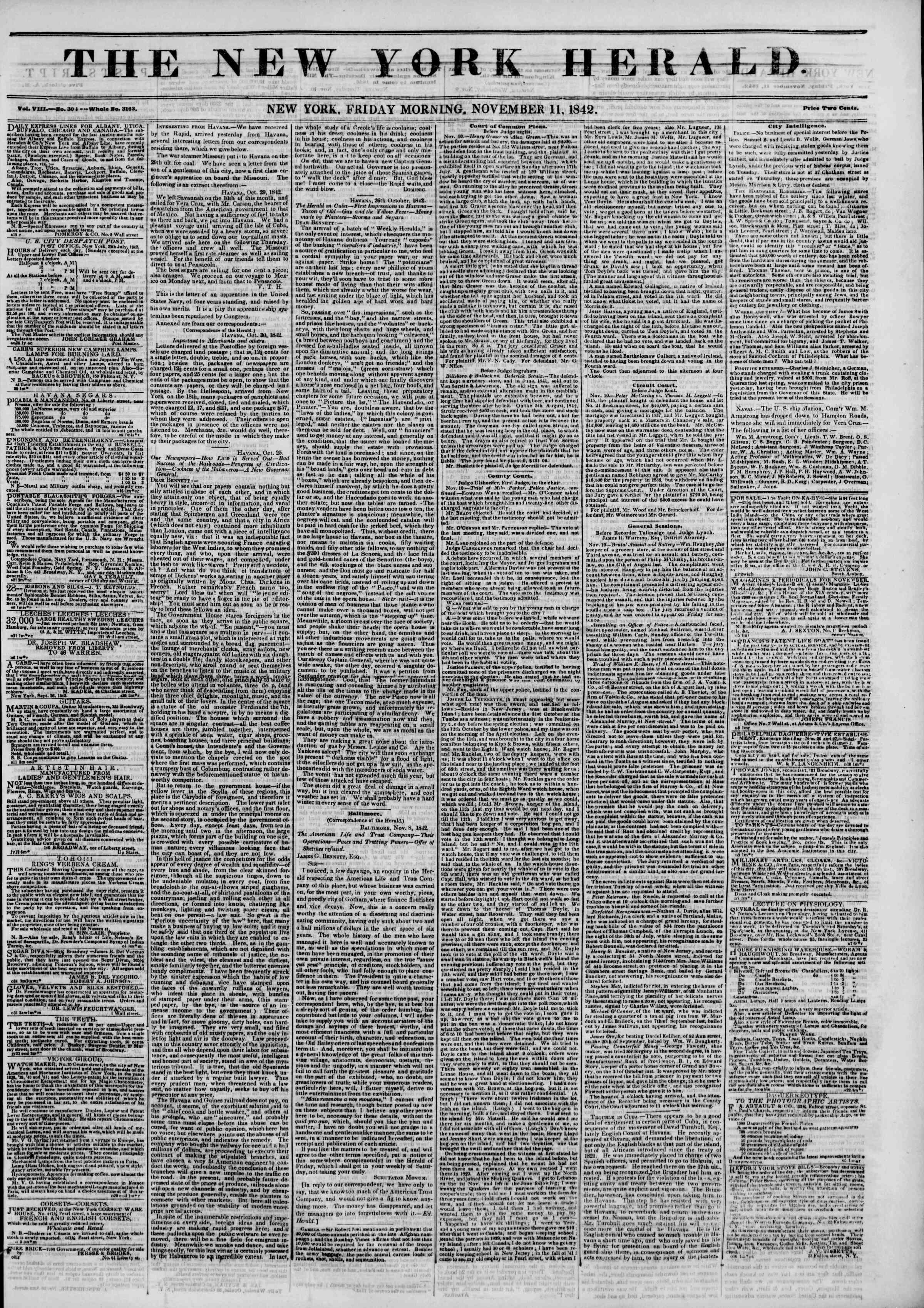 November 11, 1842 Tarihli The New York Herald Gazetesi Sayfa 1