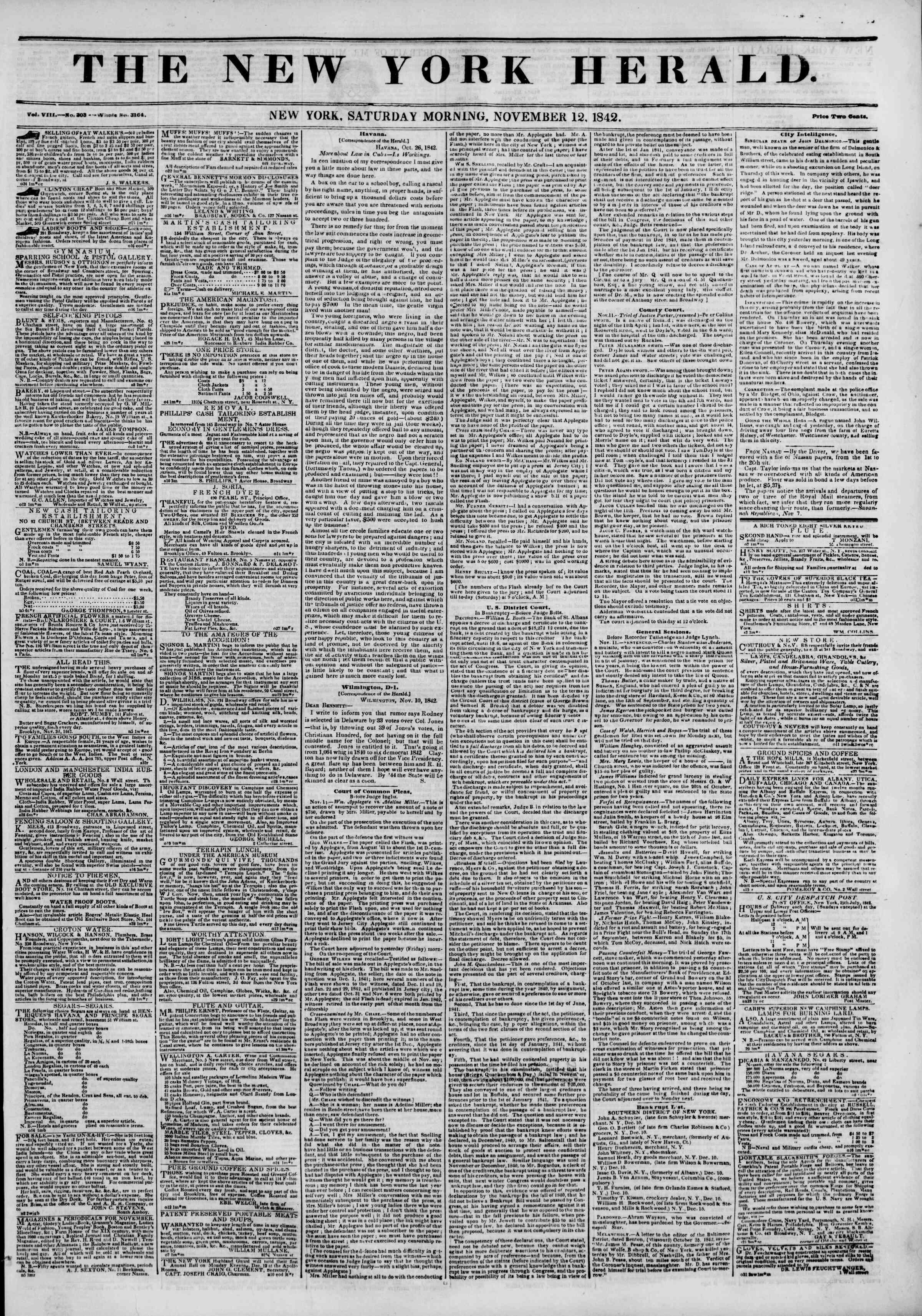November 12, 1842 Tarihli The New York Herald Gazetesi Sayfa 1