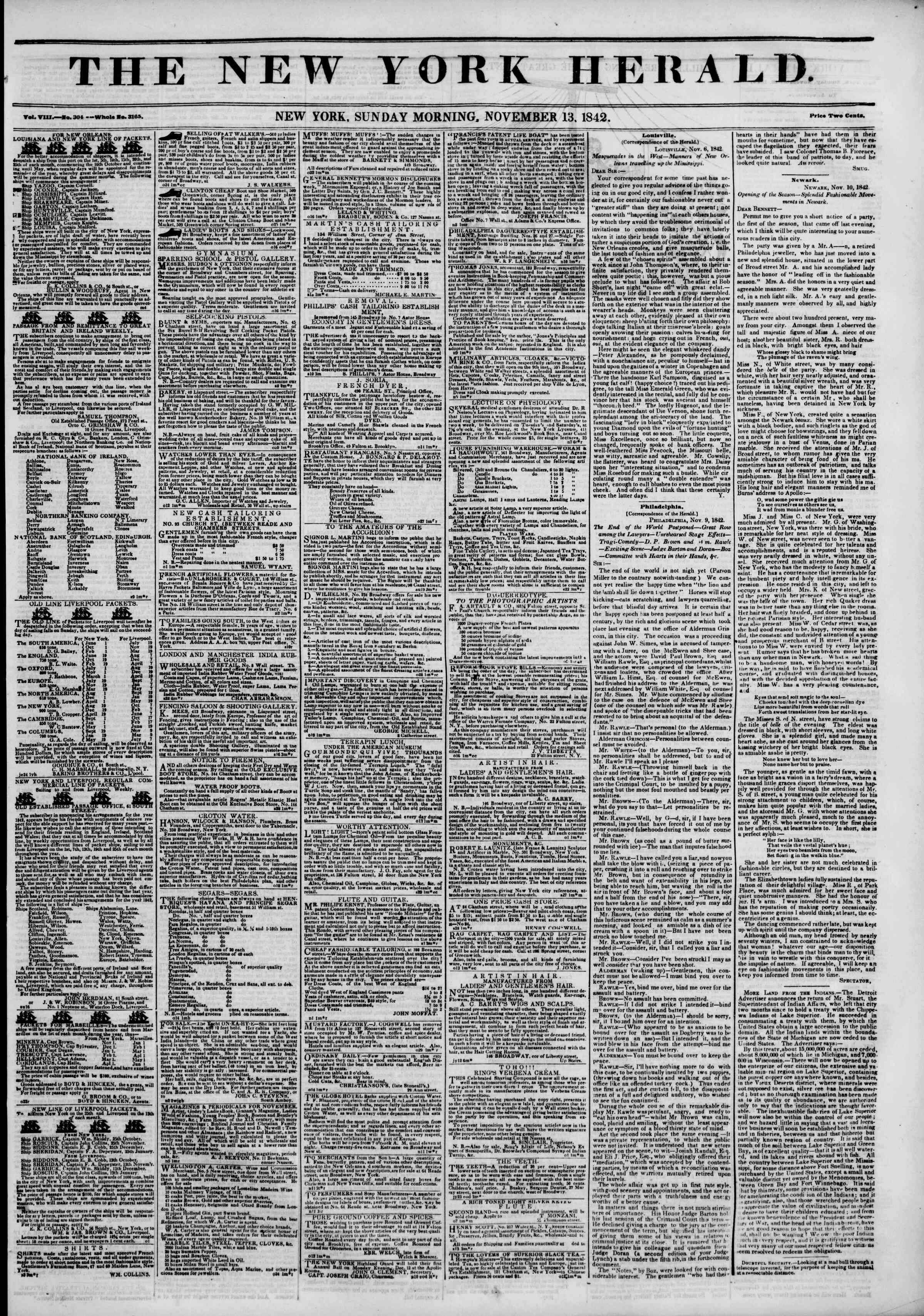 Newspaper of The New York Herald dated November 13, 1842 Page 1