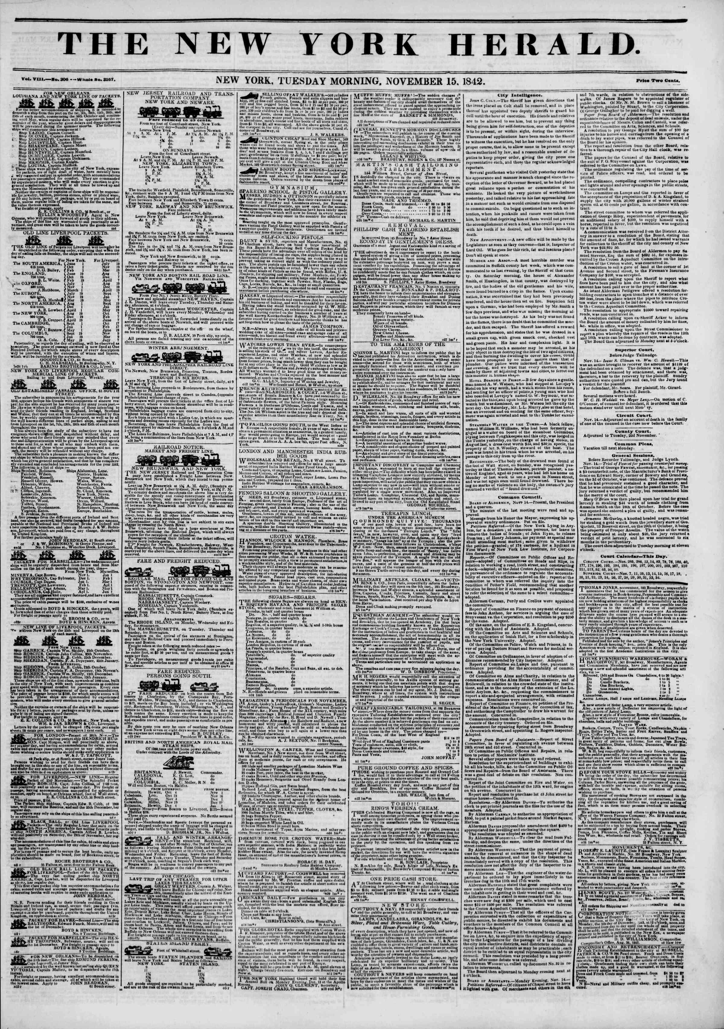 15 Kasım 1842 tarihli The New York Herald Gazetesi Sayfa 1