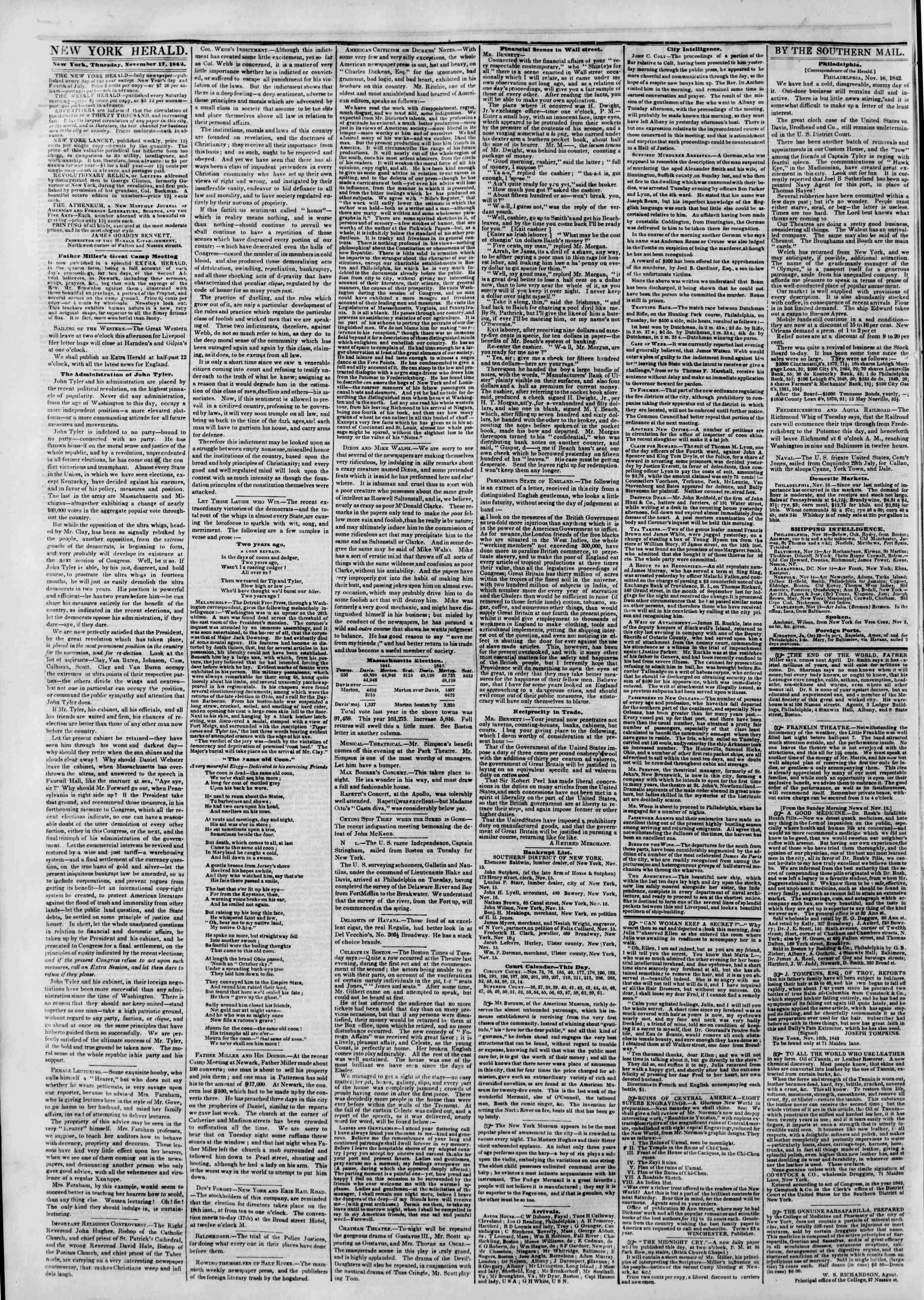 17 Kasım 1842 tarihli The New York Herald Gazetesi Sayfa 2