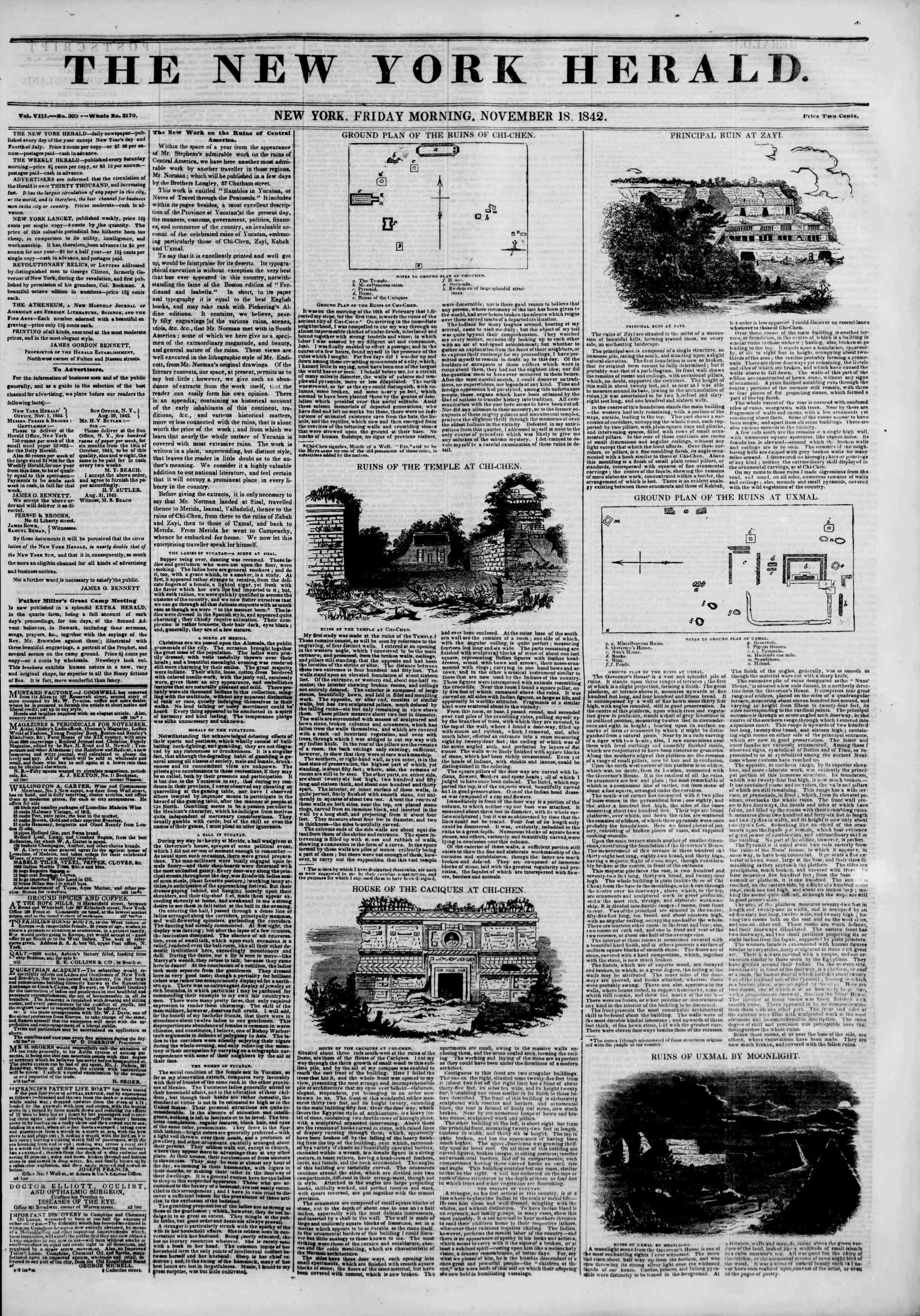 18 Kasım 1842 tarihli The New York Herald Gazetesi Sayfa 1