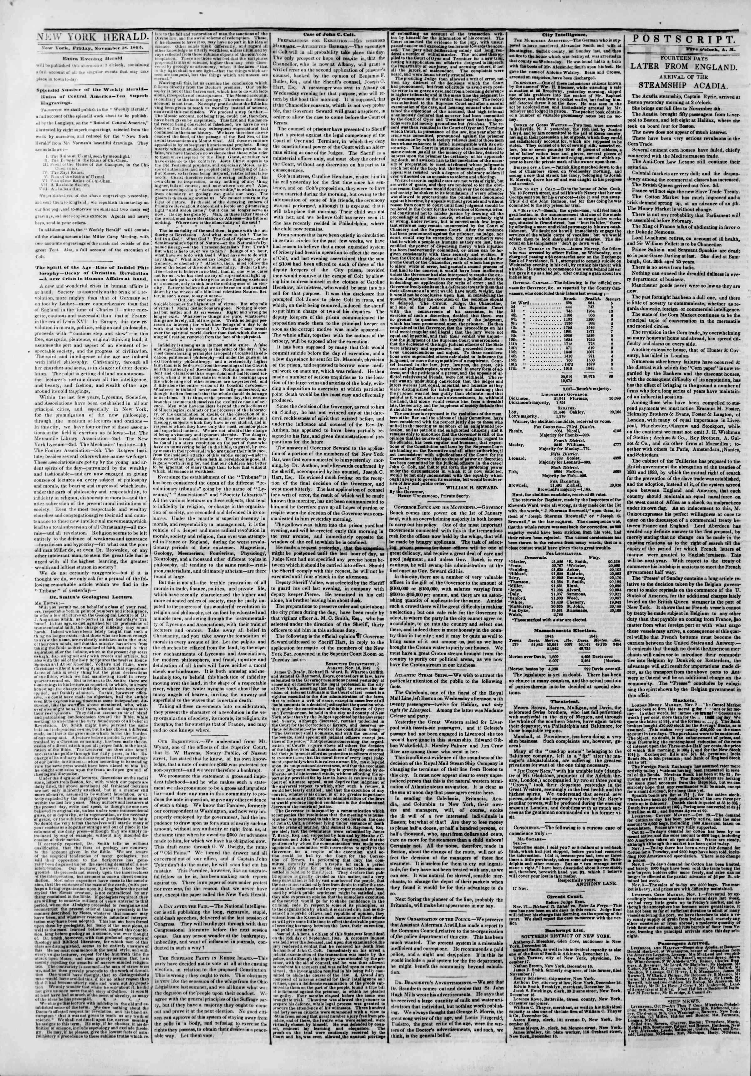 Newspaper of The New York Herald dated November 18, 1842 Page 2