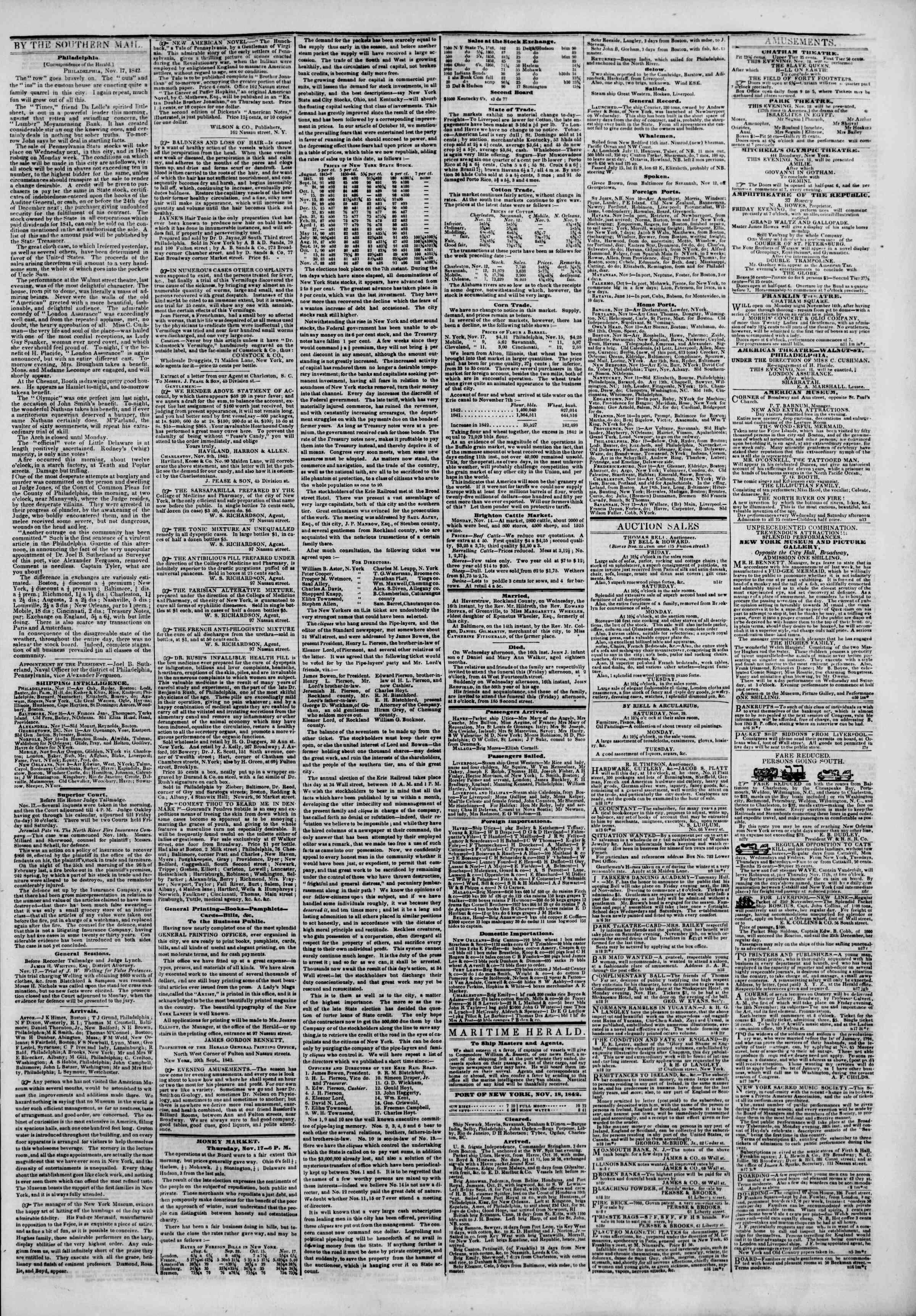 November 18, 1842 Tarihli The New York Herald Gazetesi Sayfa 3