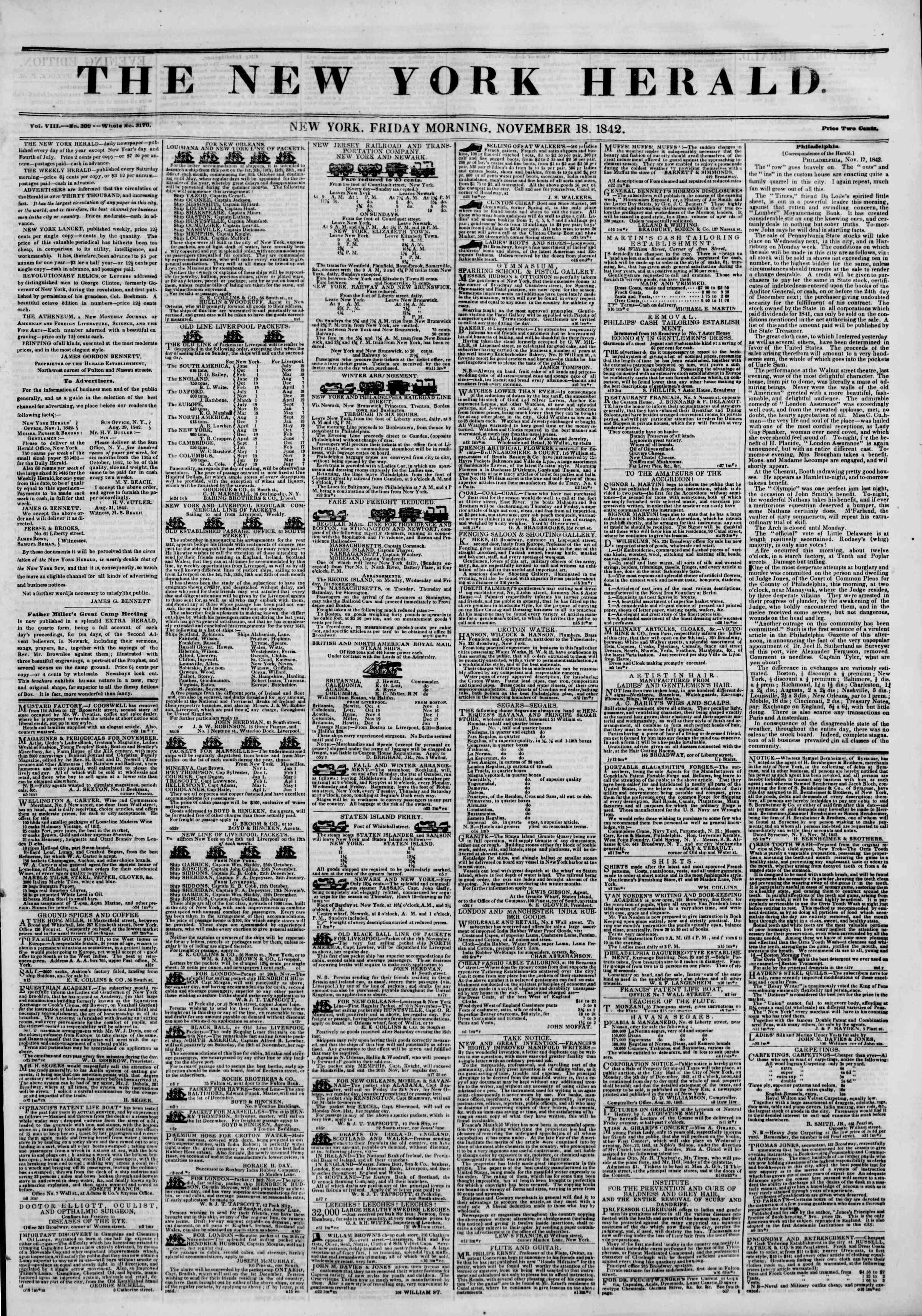 18 Kasım 1842 tarihli The New York Herald Gazetesi Sayfa 5