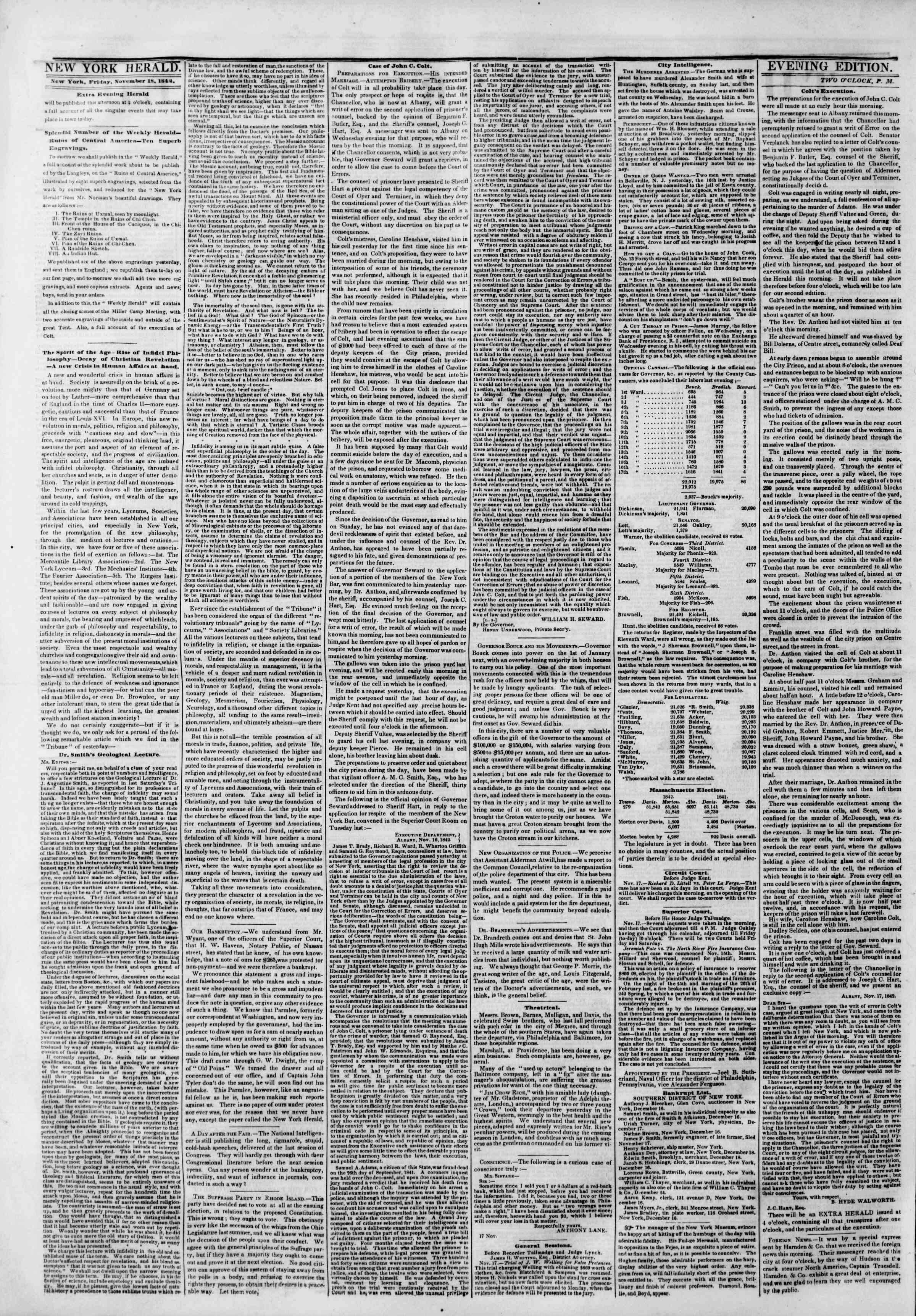 November 18, 1842 Tarihli The New York Herald Gazetesi Sayfa 6