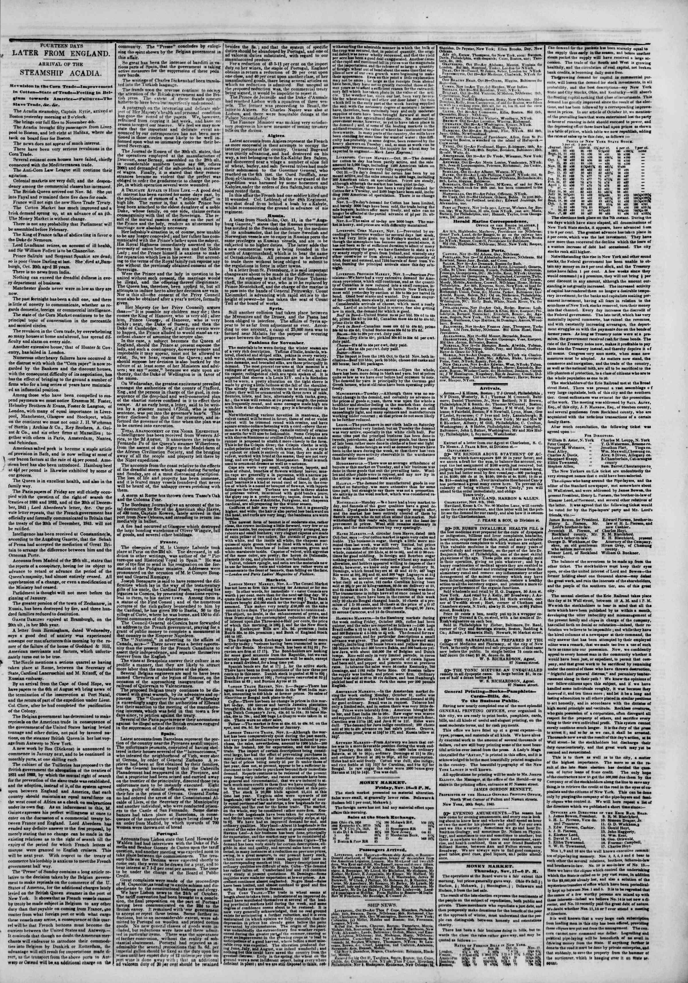 November 18, 1842 Tarihli The New York Herald Gazetesi Sayfa 7