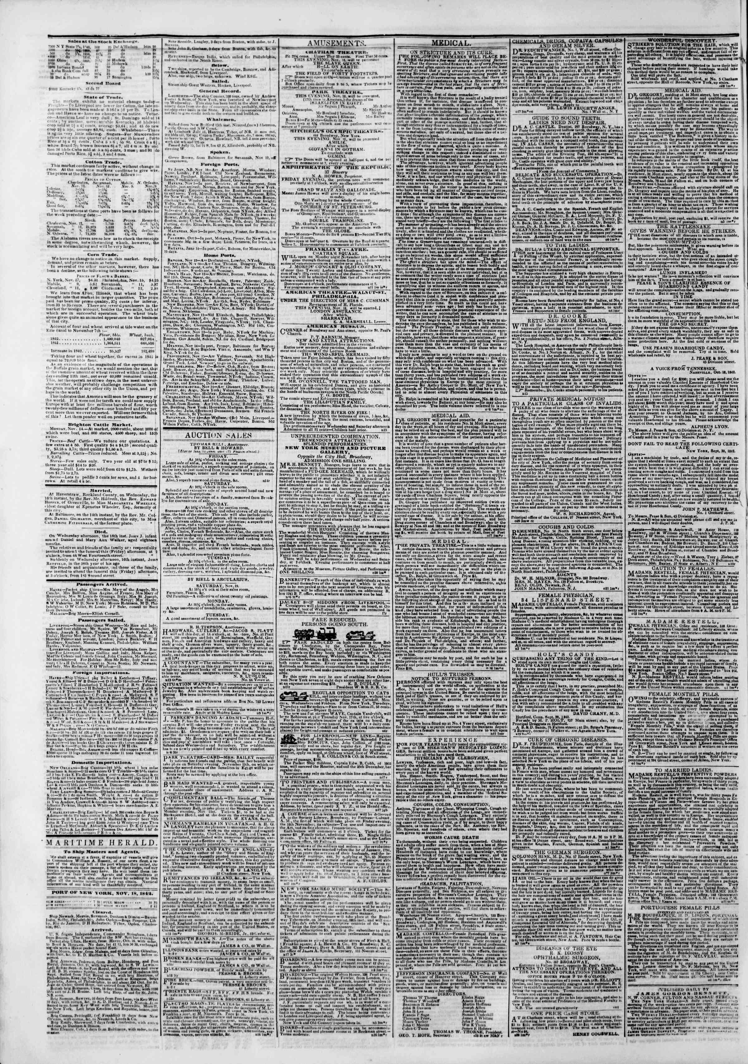 Newspaper of The New York Herald dated November 18, 1842 Page 8