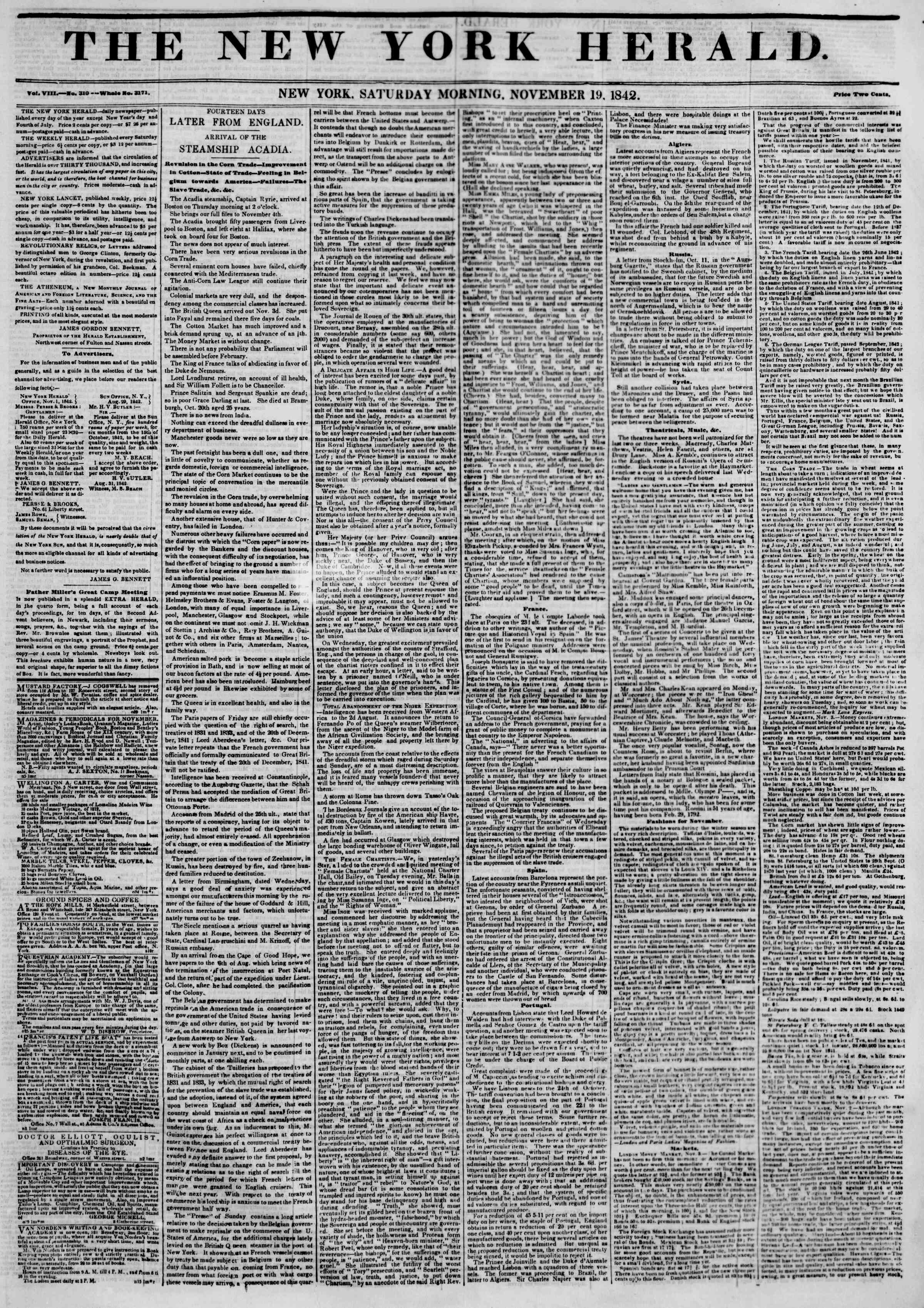Newspaper of The New York Herald dated November 19, 1842 Page 1