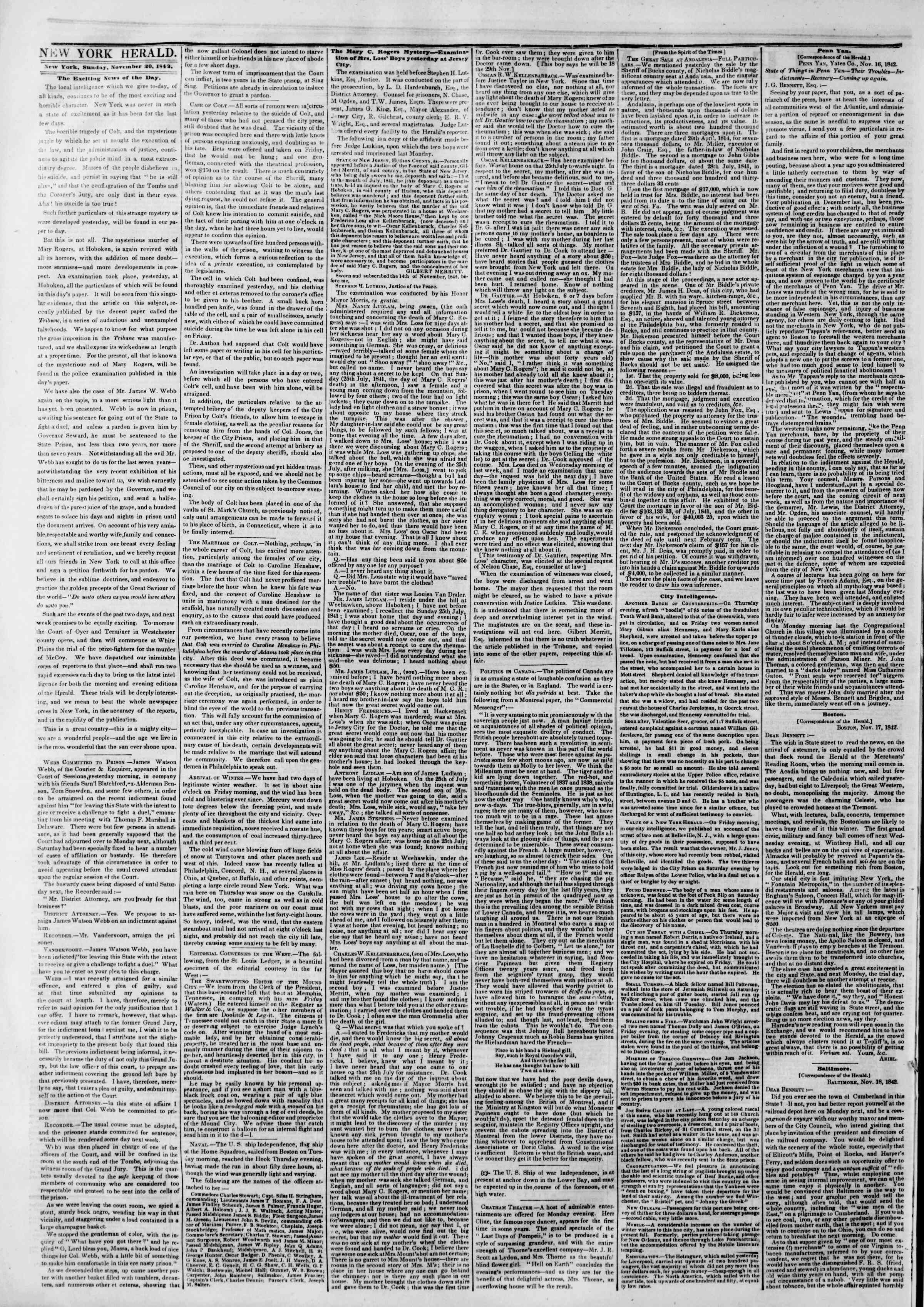 Newspaper of The New York Herald dated November 20, 1842 Page 2